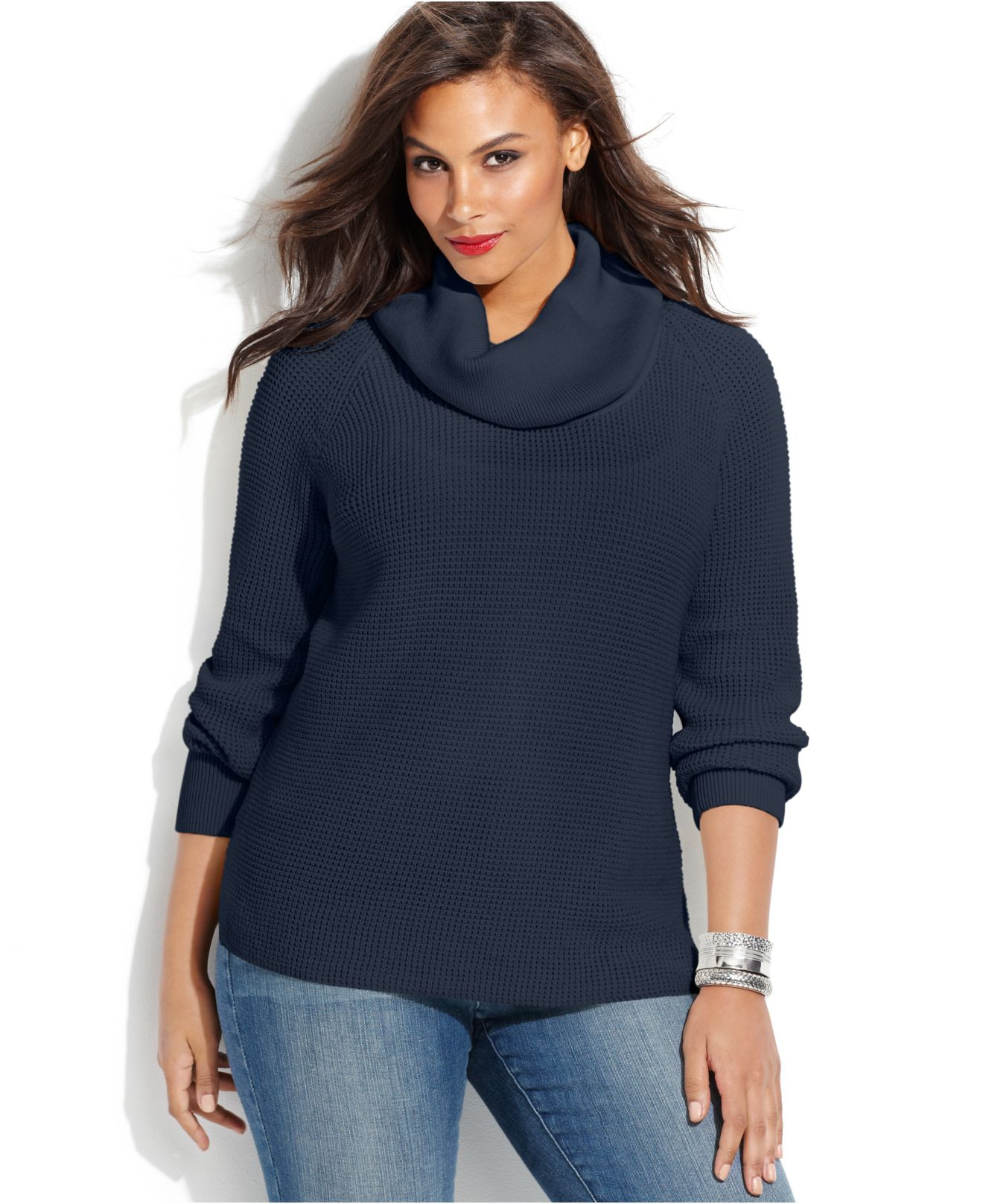 Michael kors Michael Plus Size Cowl-Neck Waffle-Knit Sweater in ...