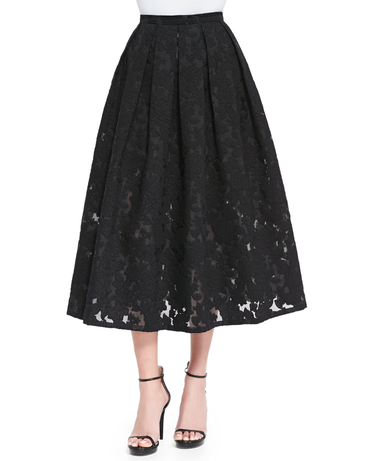 michael kors floral fil coupe midi skirt in black lyst