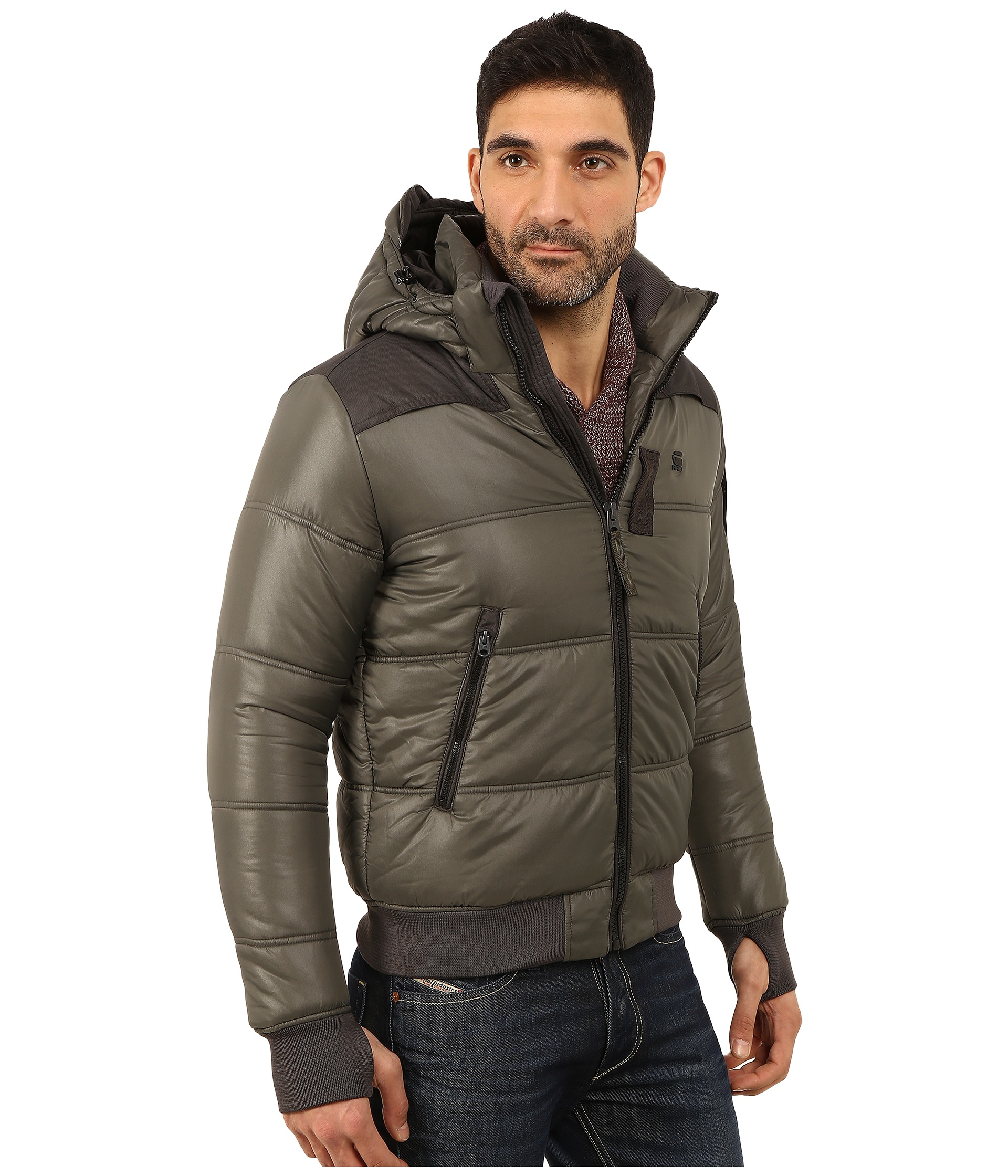 G-star raw Whistler Hooded Bomber Jacket in Gray for Men | Lyst