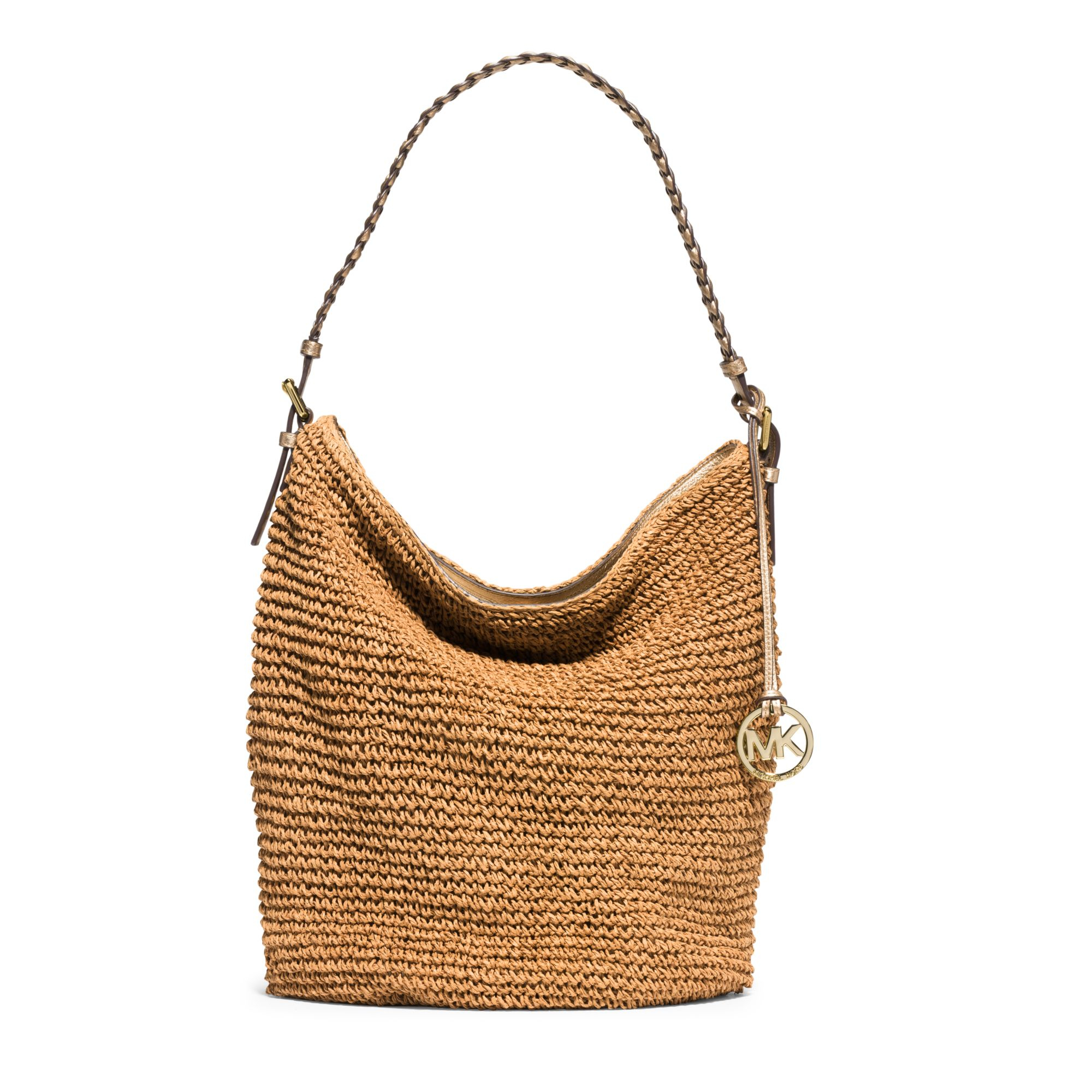 bdb429c901 Lyst - Michael Kors Lola Large Raffia Shoulder Bag in Brown