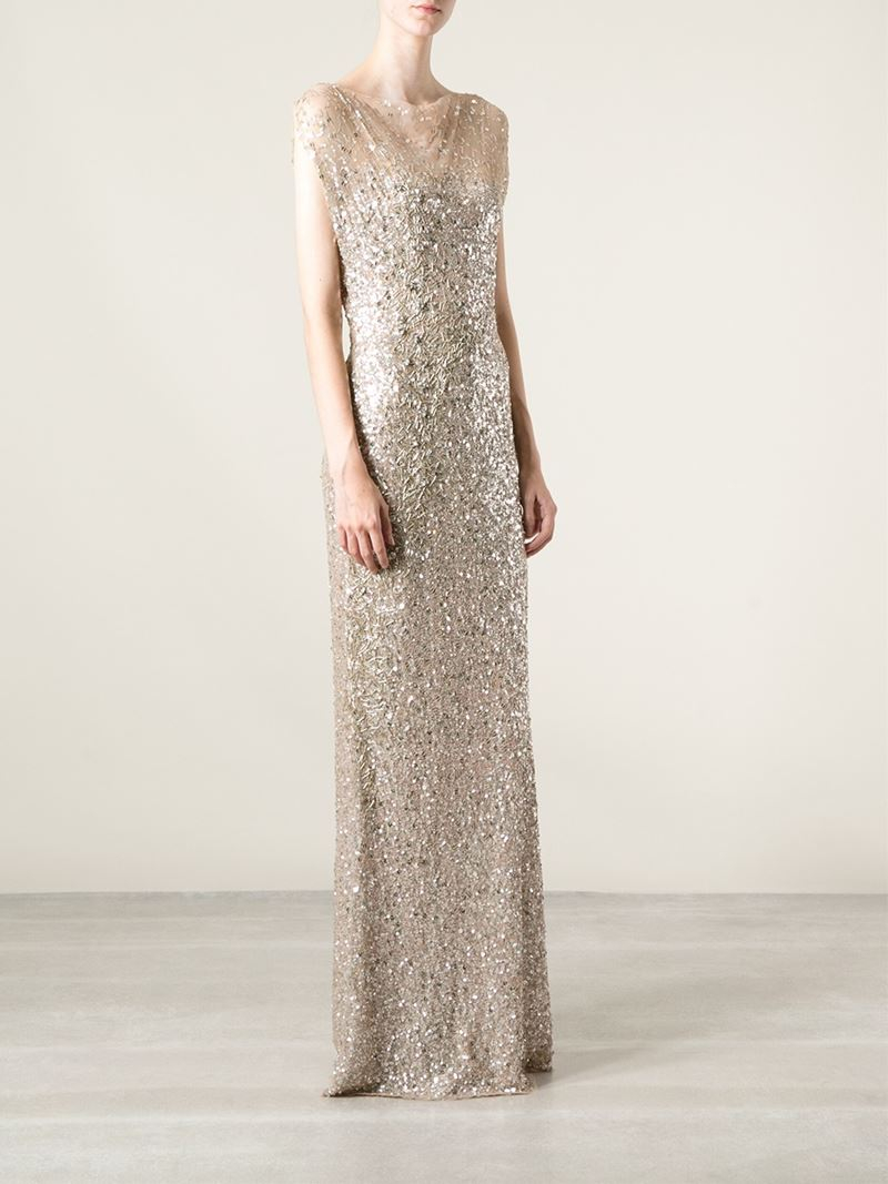 Lyst - Jenny Packham Sequin Evening Gown in Natural