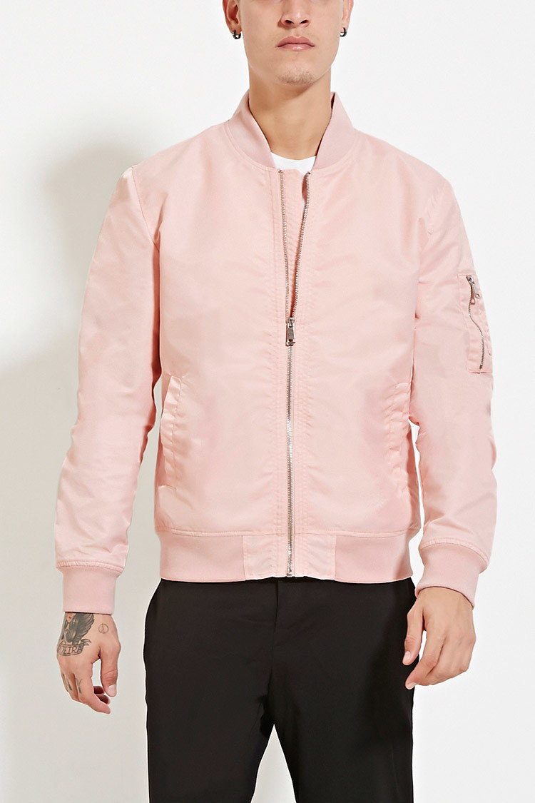 Forever 21 Pocket Sleeve Bomber Jacket in Pink for Men | Lyst