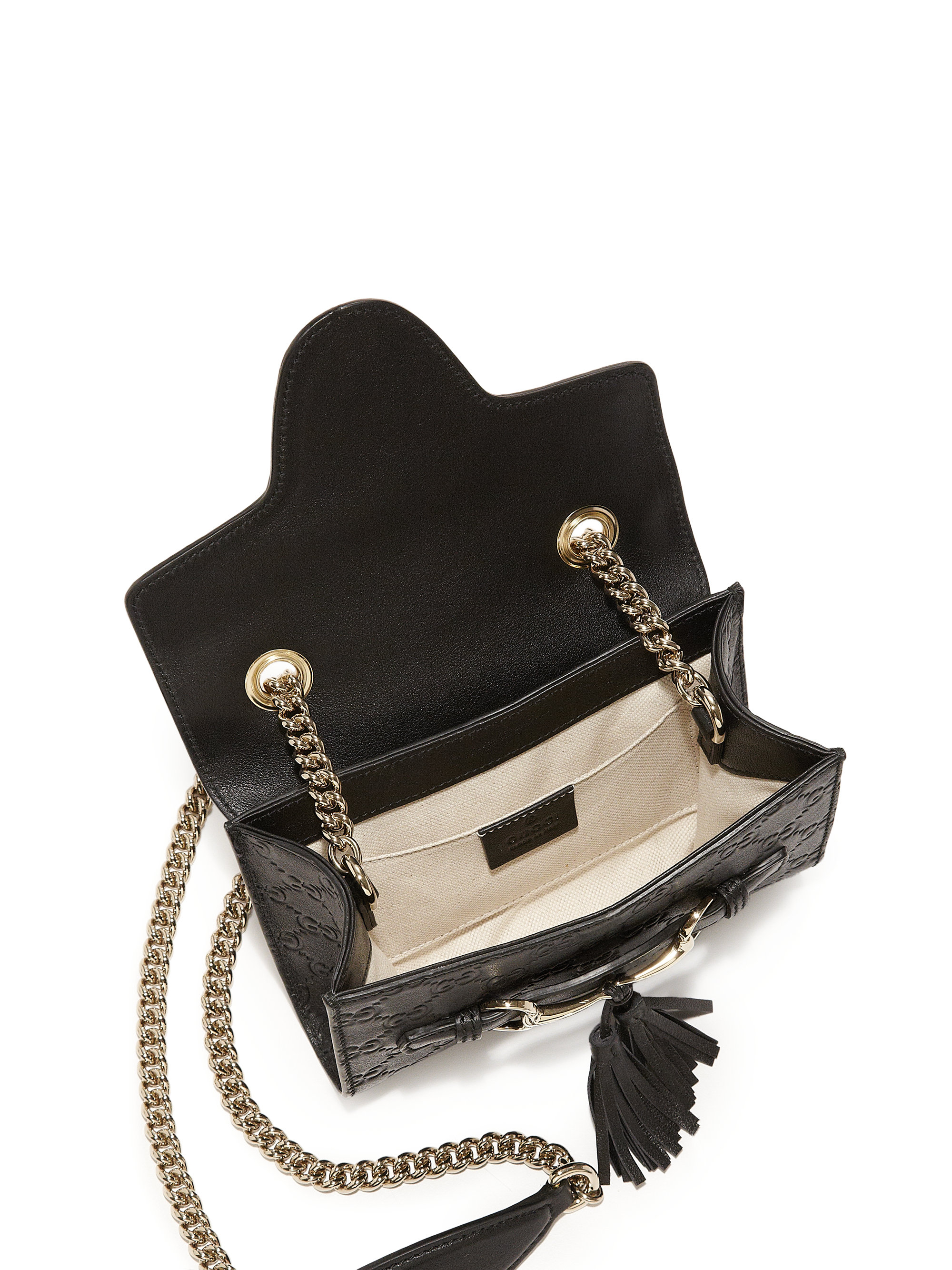 bb76d838ef62 Gucci Emily Ssima Leather Chain Mini Bag in Black - Lyst