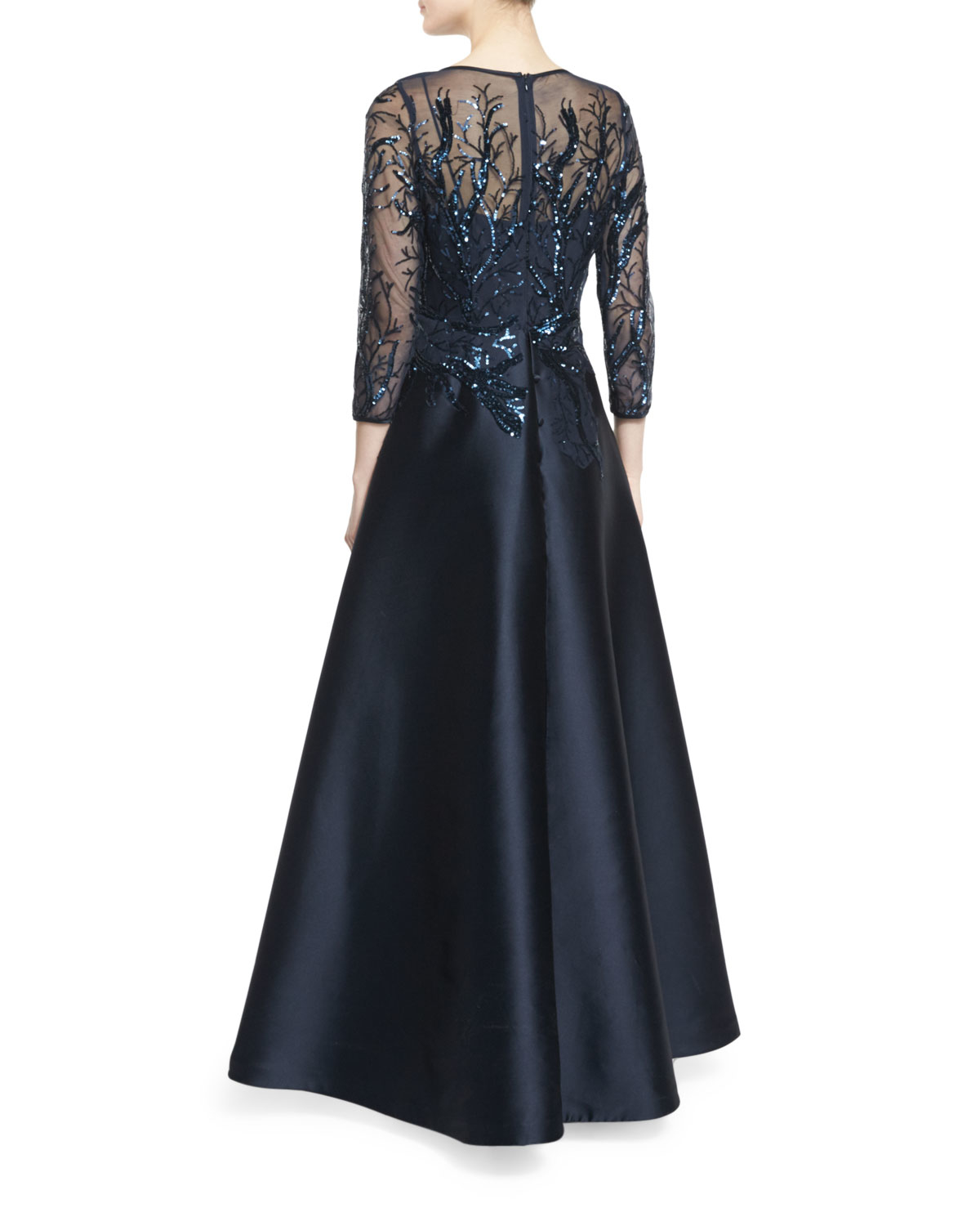 6fdef1c736a8 Lyst - Teri Jon 3 4-sleeve Sequined Ball Gown in Blue