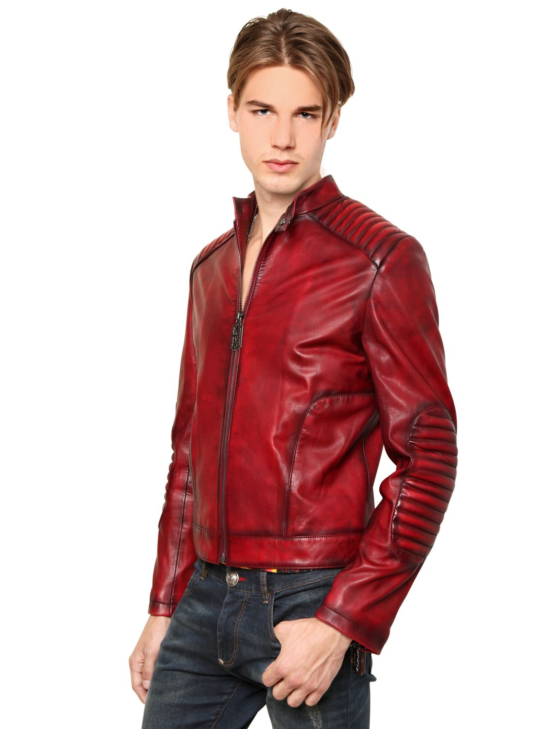philipp plein vintaged legacy biker leather jacket in red. Black Bedroom Furniture Sets. Home Design Ideas