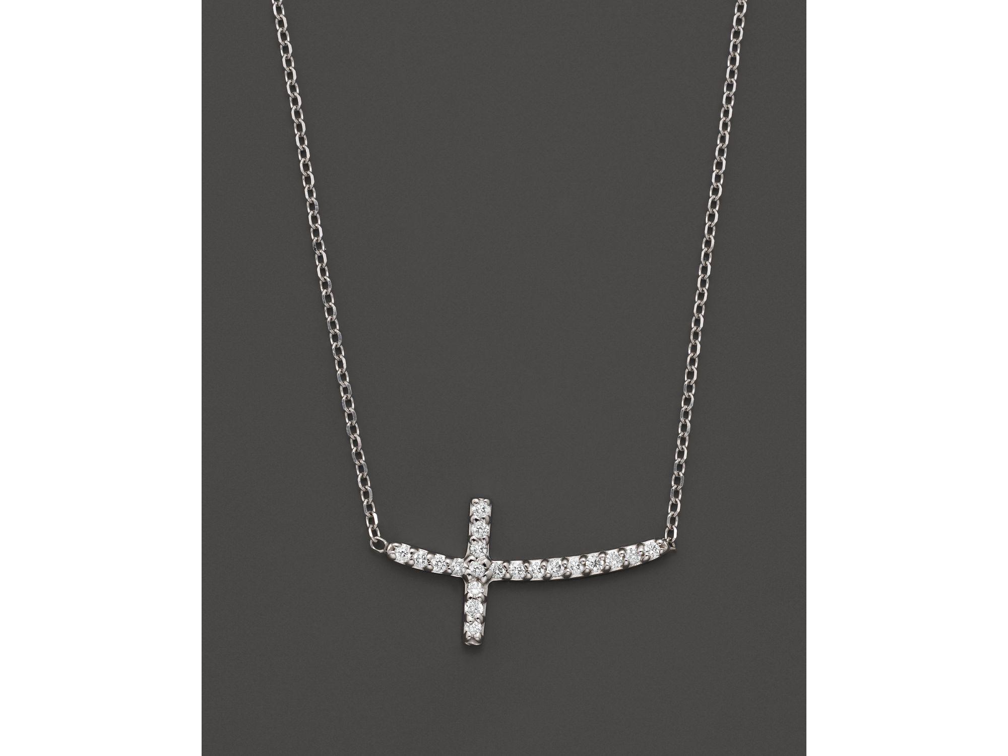955d9b4d08537b Lyst Kc Designs Small Diamond Sideways Cross Pendant Necklace In