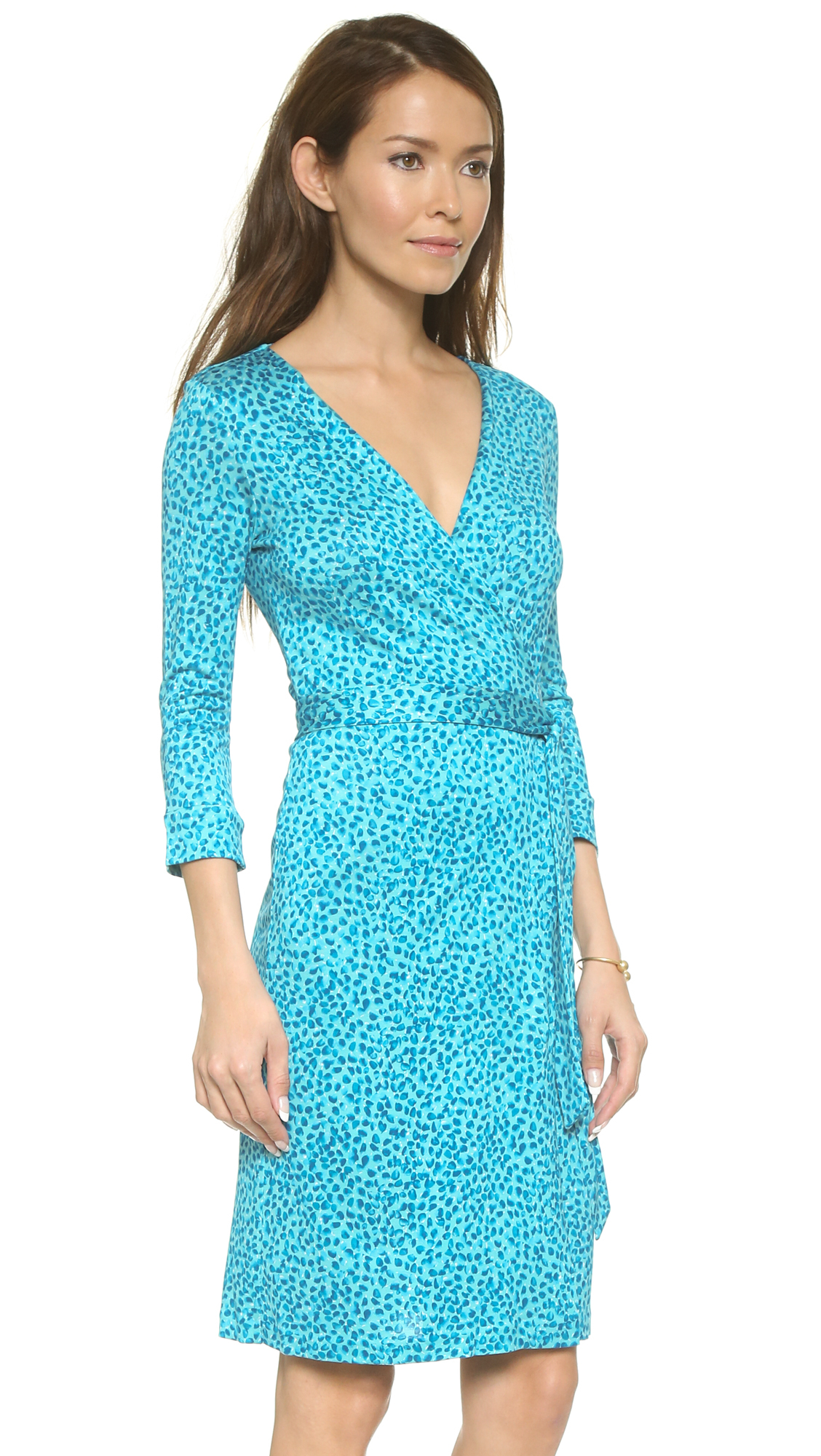 lyst diane von furstenberg new julian two wrap dress petal dreams blue in blue. Black Bedroom Furniture Sets. Home Design Ideas