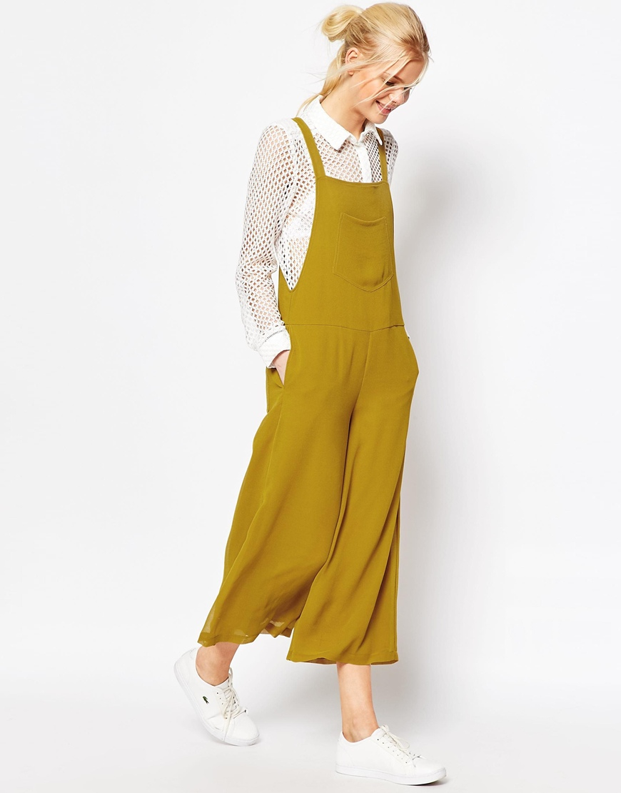 ad89d0ada9e2d Asos Pinafore Jumpsuit With Culotte Leg - Yellow in Yellow .