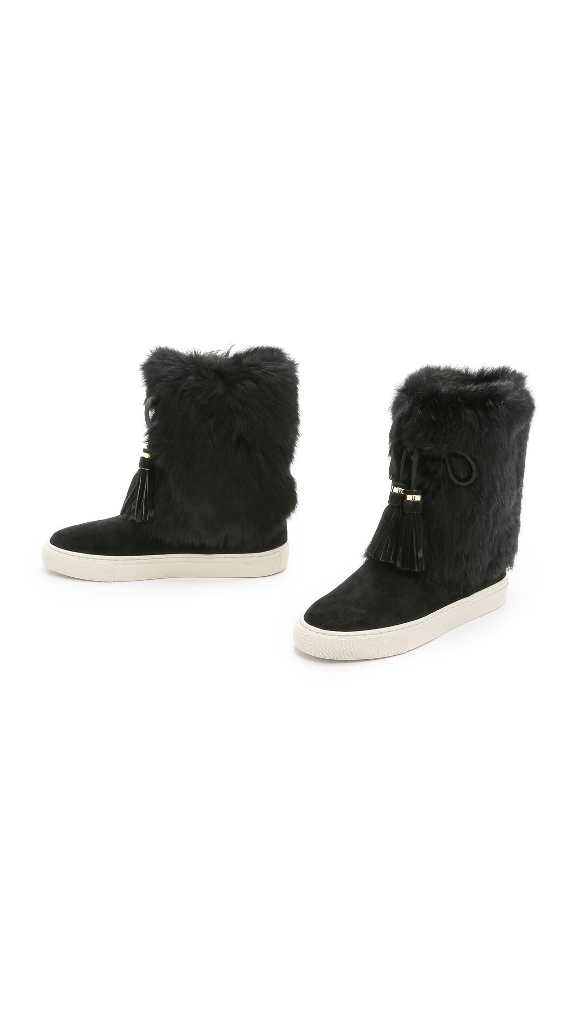burch anjelica suede fur boots in black lyst
