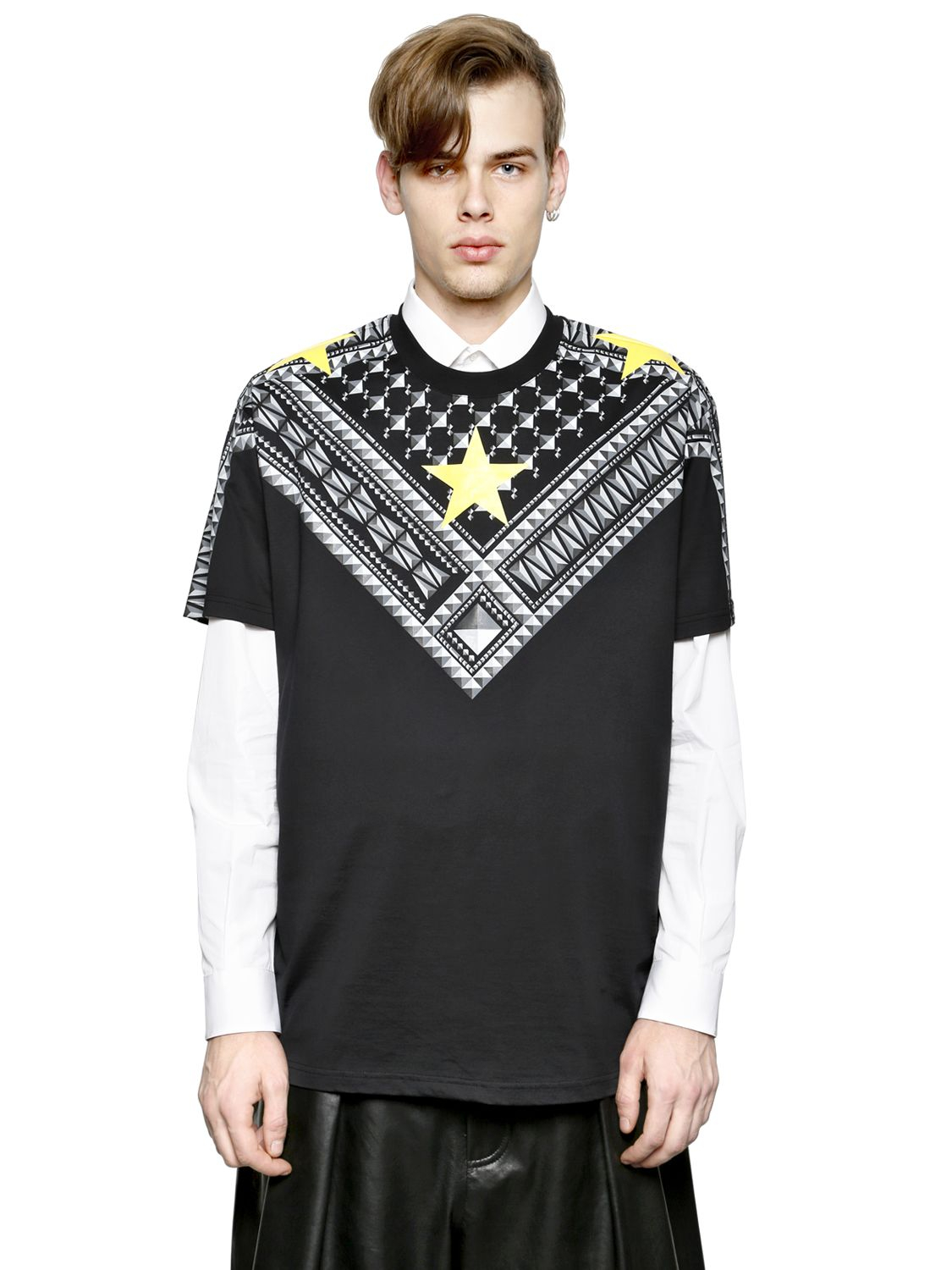 Givenchy Keffiyeh Columbian Fit Cotton T Shirt In Black