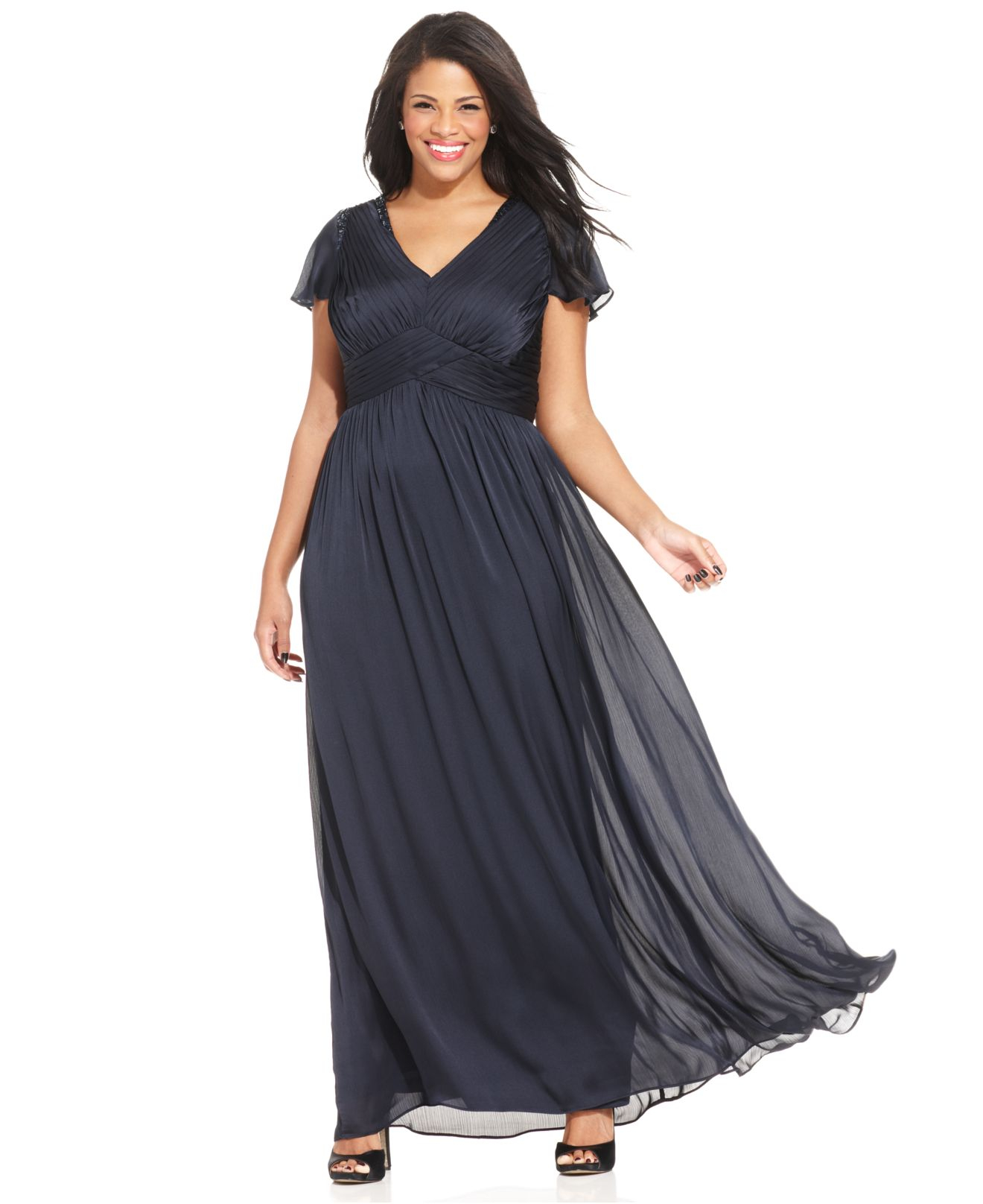 Lyst - Adrianna Papell Plus Size Flutter-sleeve Pleated Gown in Blue