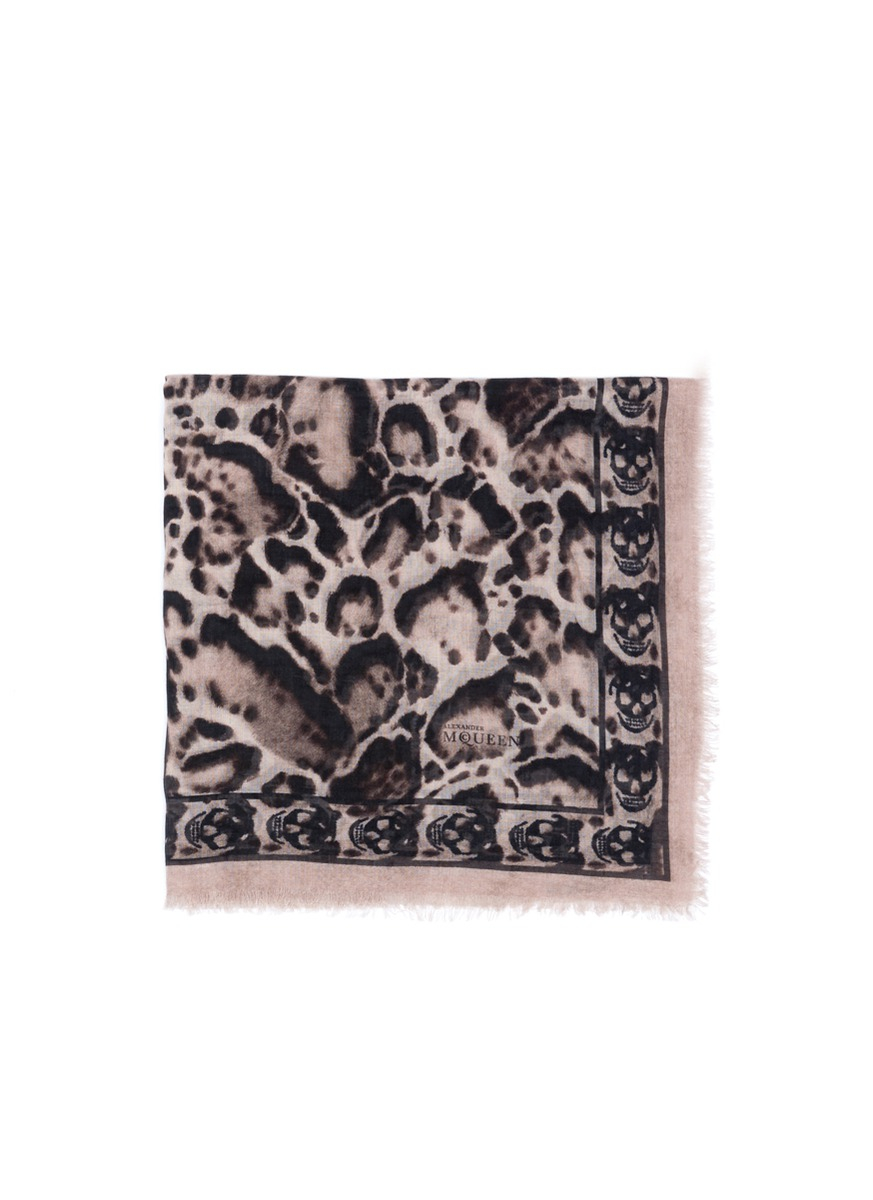 Alexander mcqueen Animalier And Skull Print Scarf in Pink ...