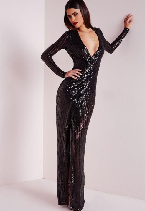 Black Sequin Maxi Dress
