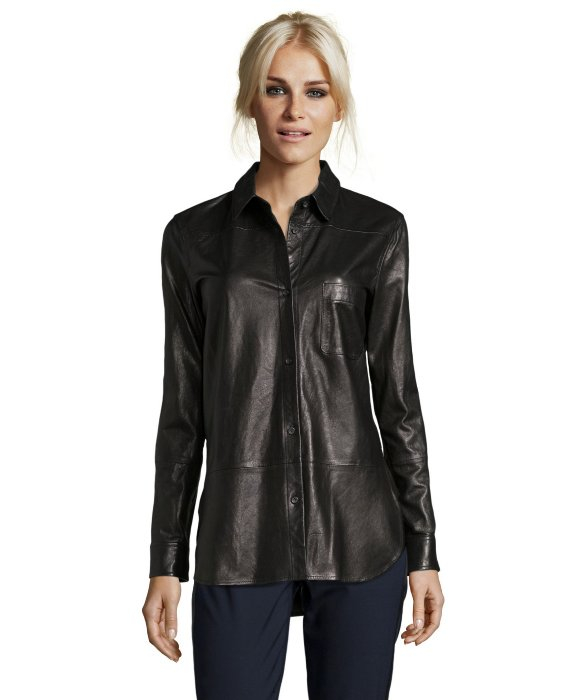 Vince black leather button down shirt in black lyst for Red leather shirt for womens