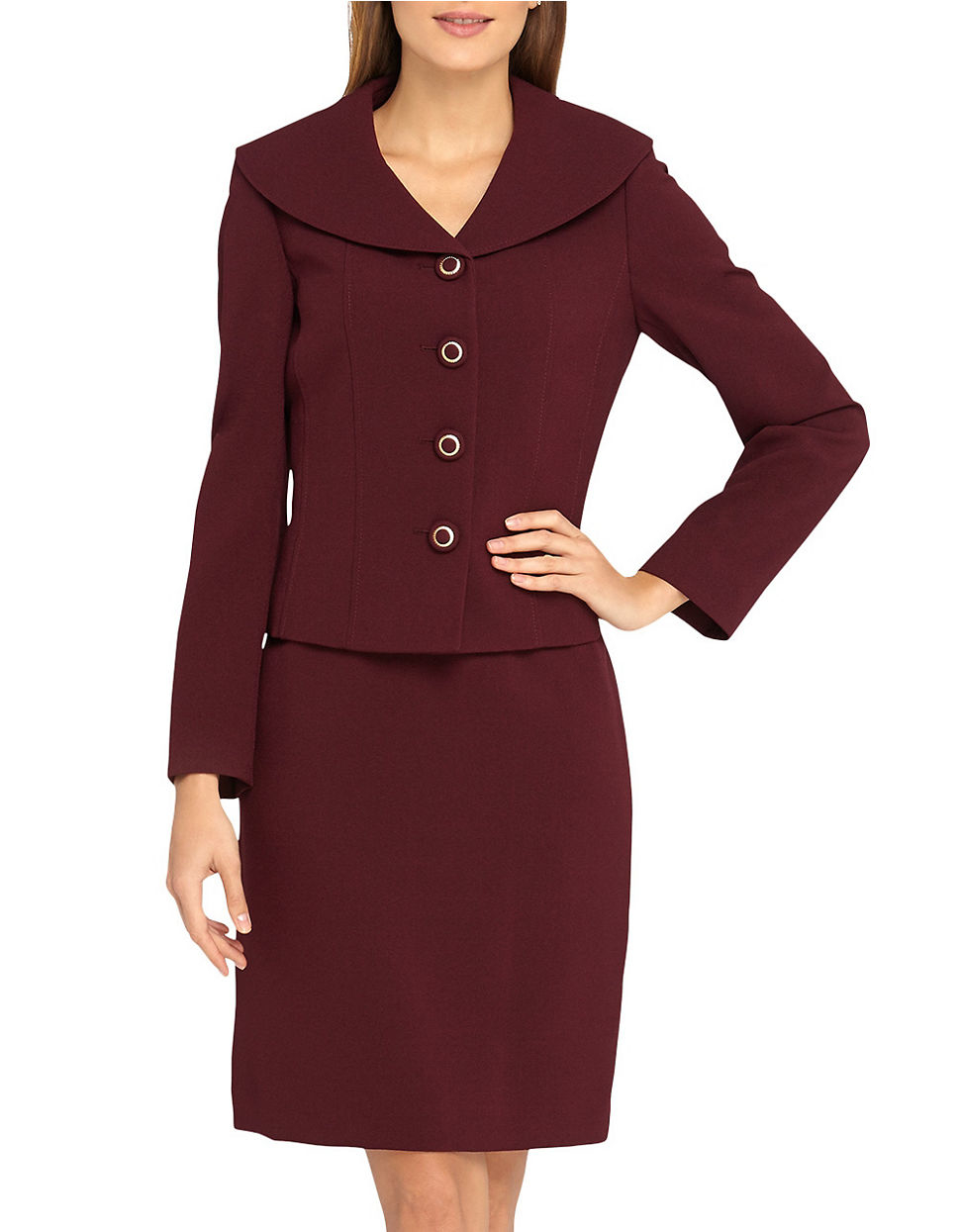Shawl Collar Skirt Suit 66