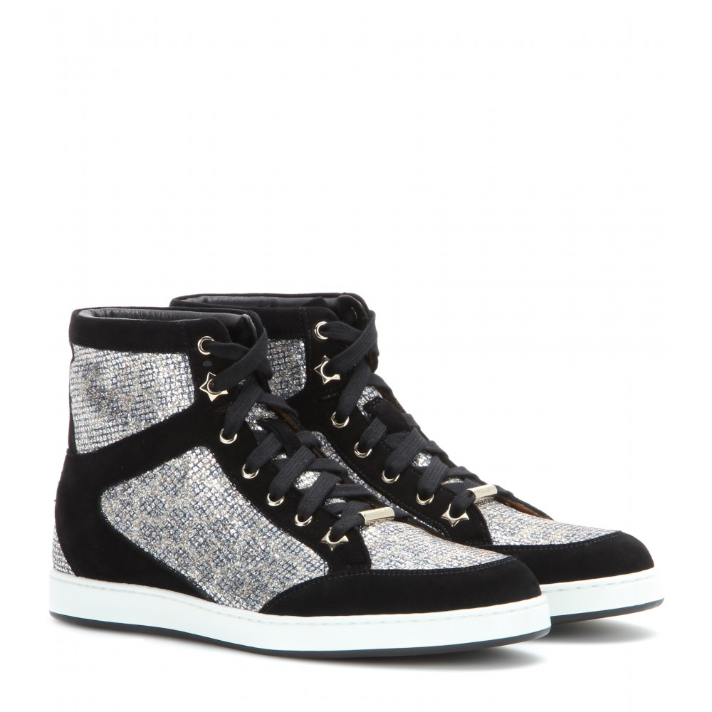 6743f533a53 ... italy lyst jimmy choo tokyo suede and glitter high top sneakers in  black 6eab6 b594a