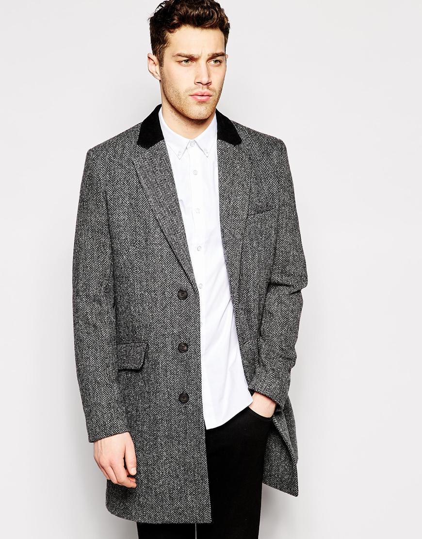 Asos Harris Tweed Overcoat In Herringbone in Gray for Men | Lyst