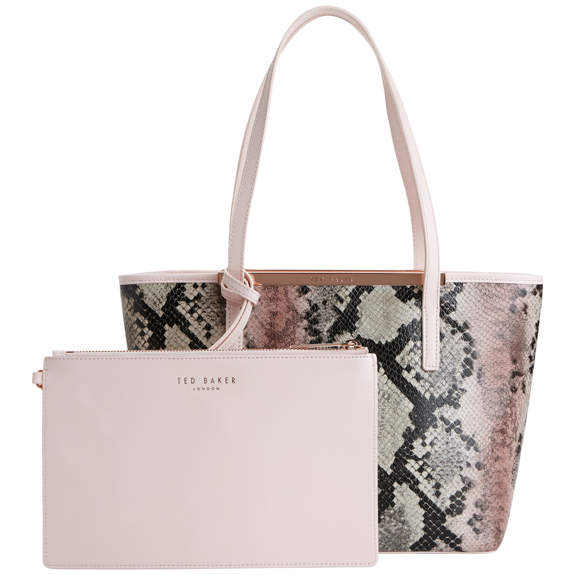 5a65f017223171 Ted Baker Nesa Crosshatch Small Leather Shopper Bag in Pink - Lyst