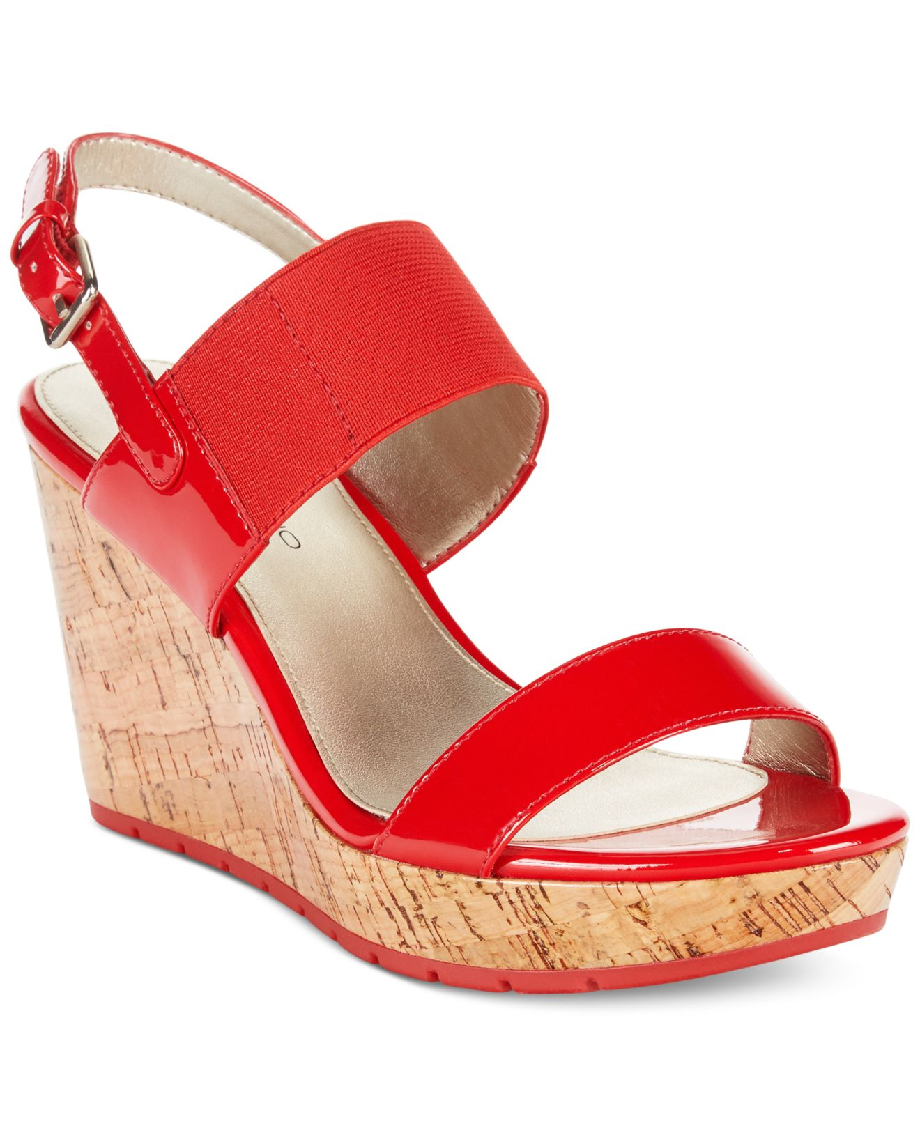 8bf55832885e Lyst - Bandolino Annika Platform Wedge Sandals in Red