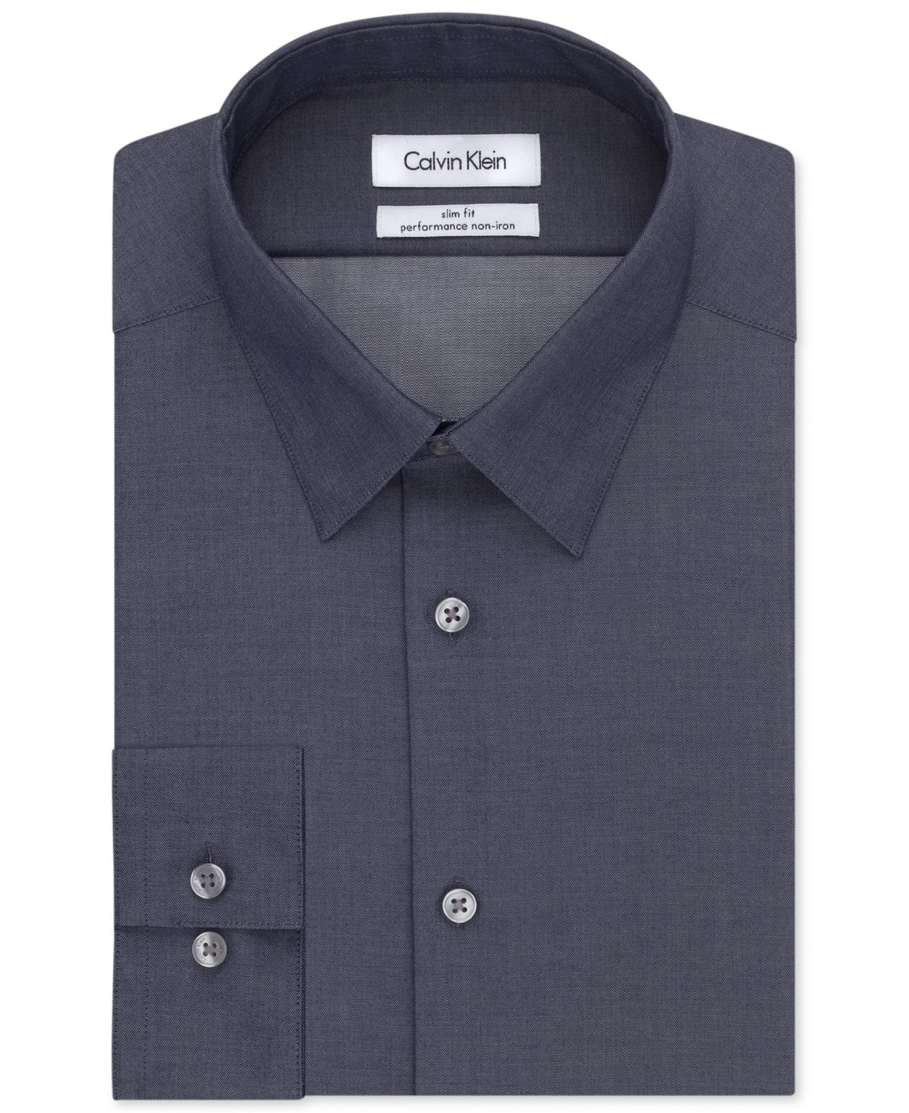 Calvin klein steel men 39 s slim fit non iron performance for Slim fit non iron dress shirts