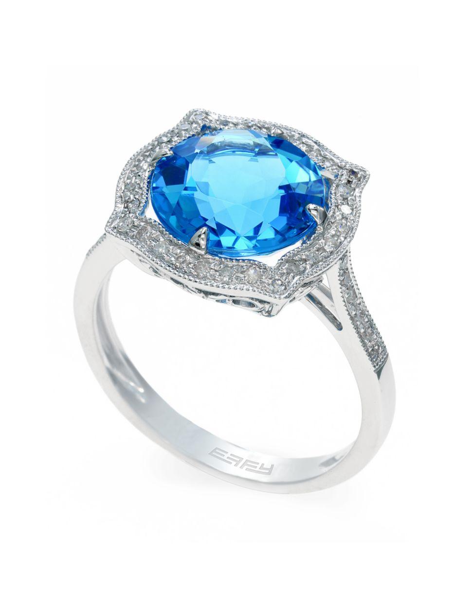 effy 14k white gold blue topaz and ring in blue lyst
