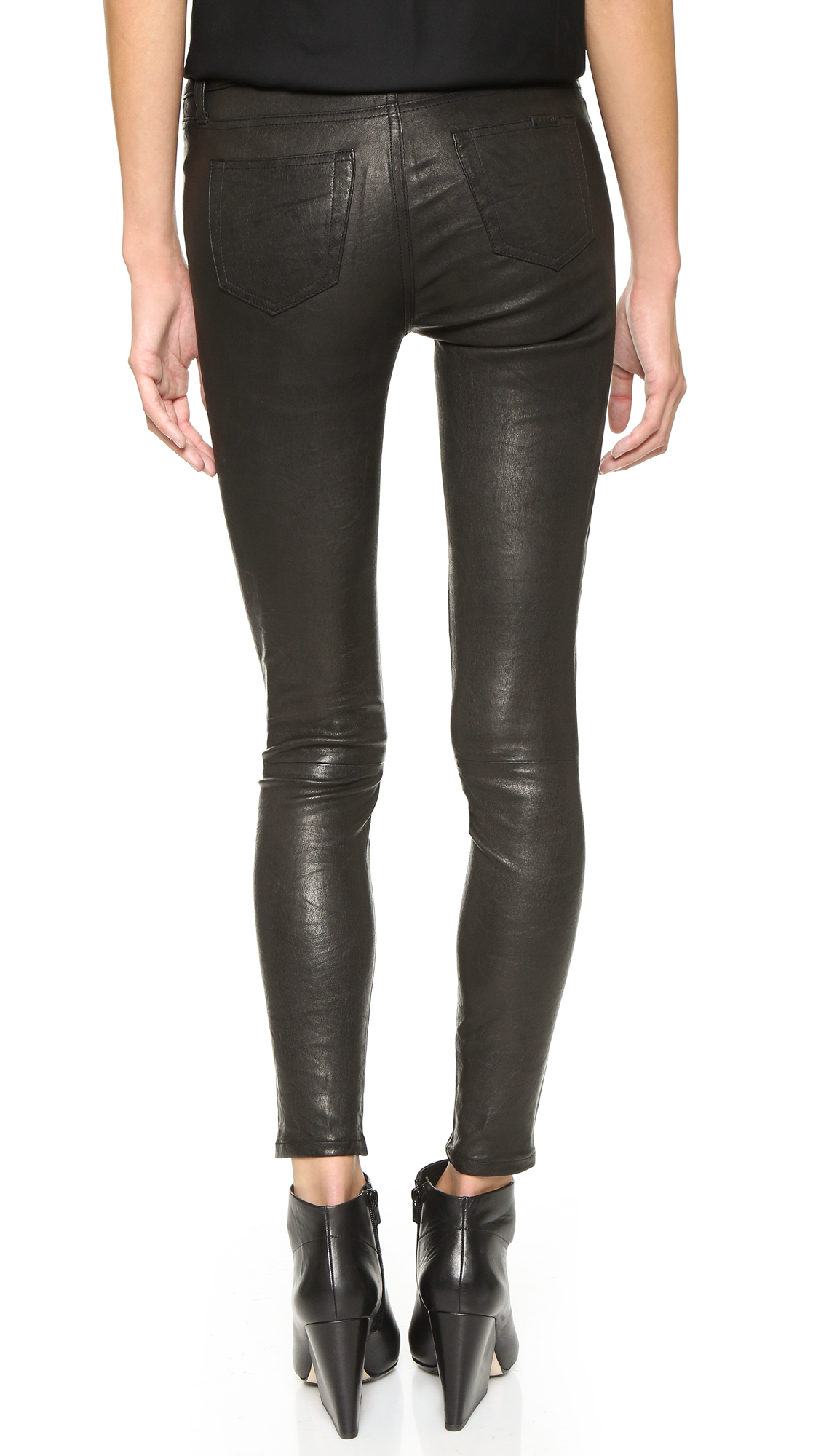 Lyst - Givenchy Leather Panel Denim Jeans in Blue