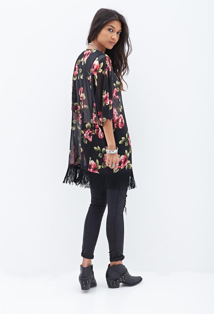 Lyst - Forever 21 Rose & Fringe Kimono in Pink