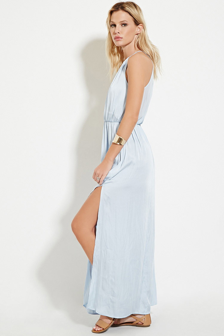 Lyst Forever 21 Satin High Slit Maxi Dress You Ve Been Added To