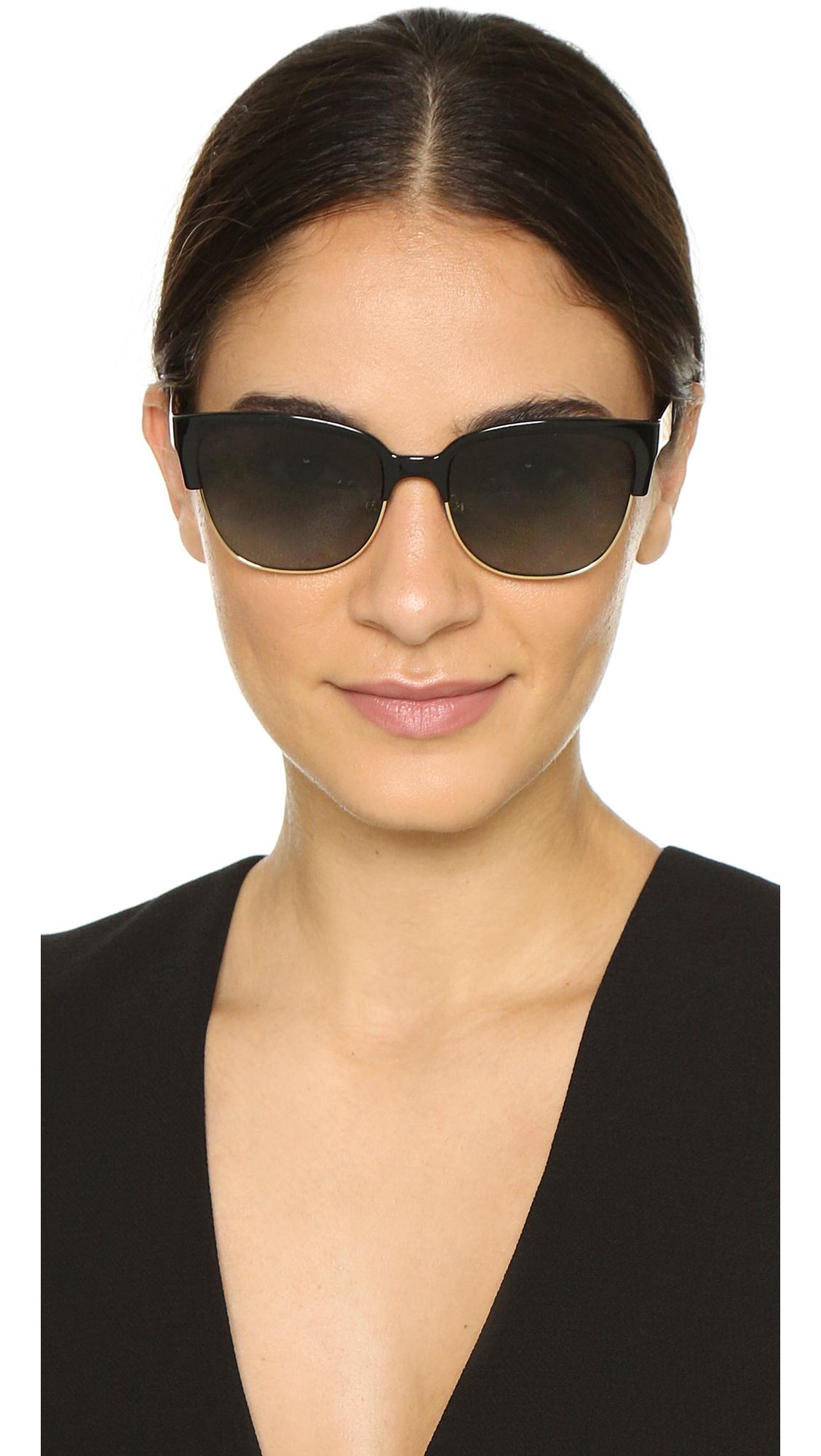 05542d9b009 Lyst - Tory Burch Rimless Bottom Polarized Sunglasses - Black Gold ...