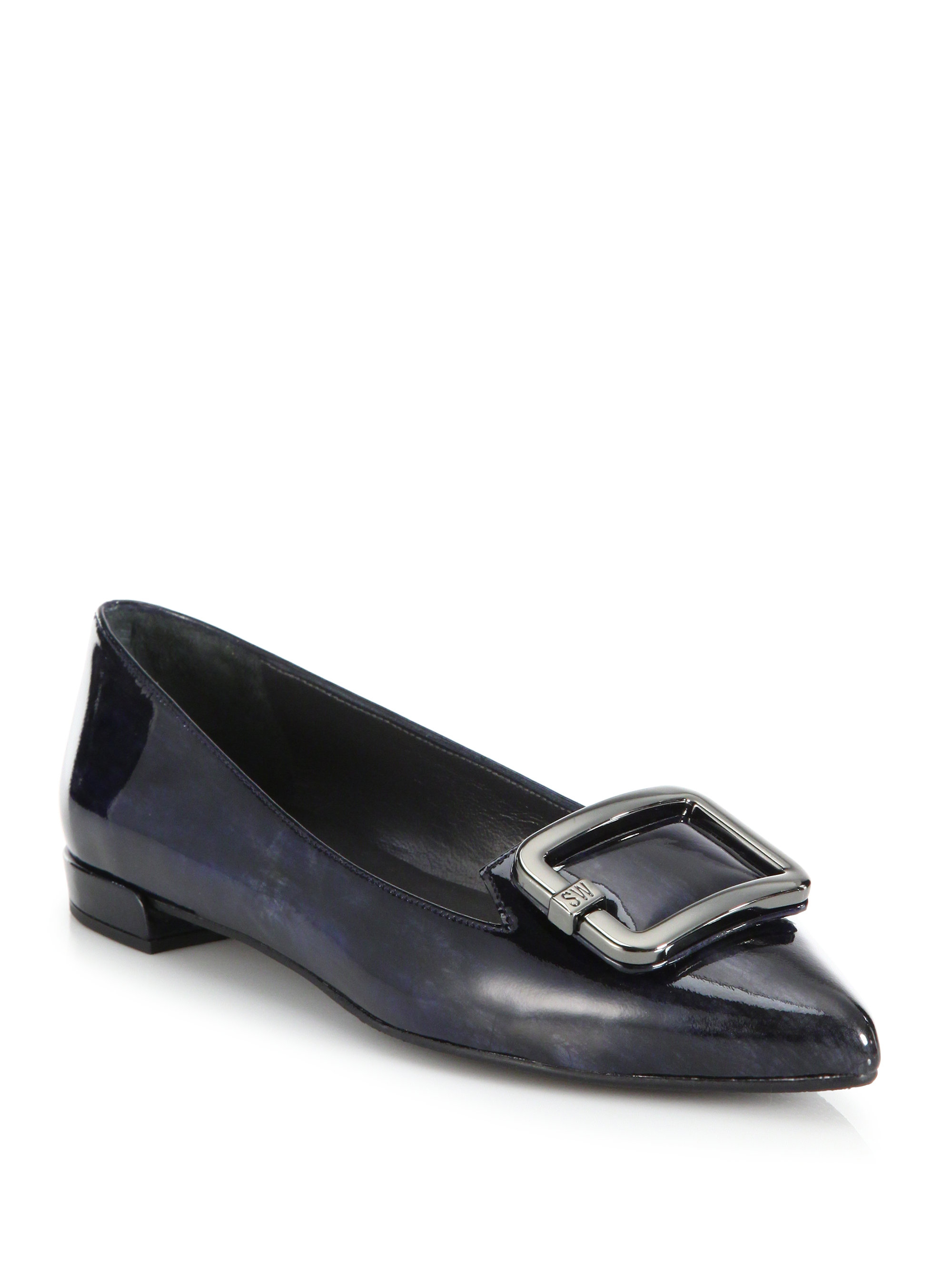 Navy Blue Patent Leather Shoes