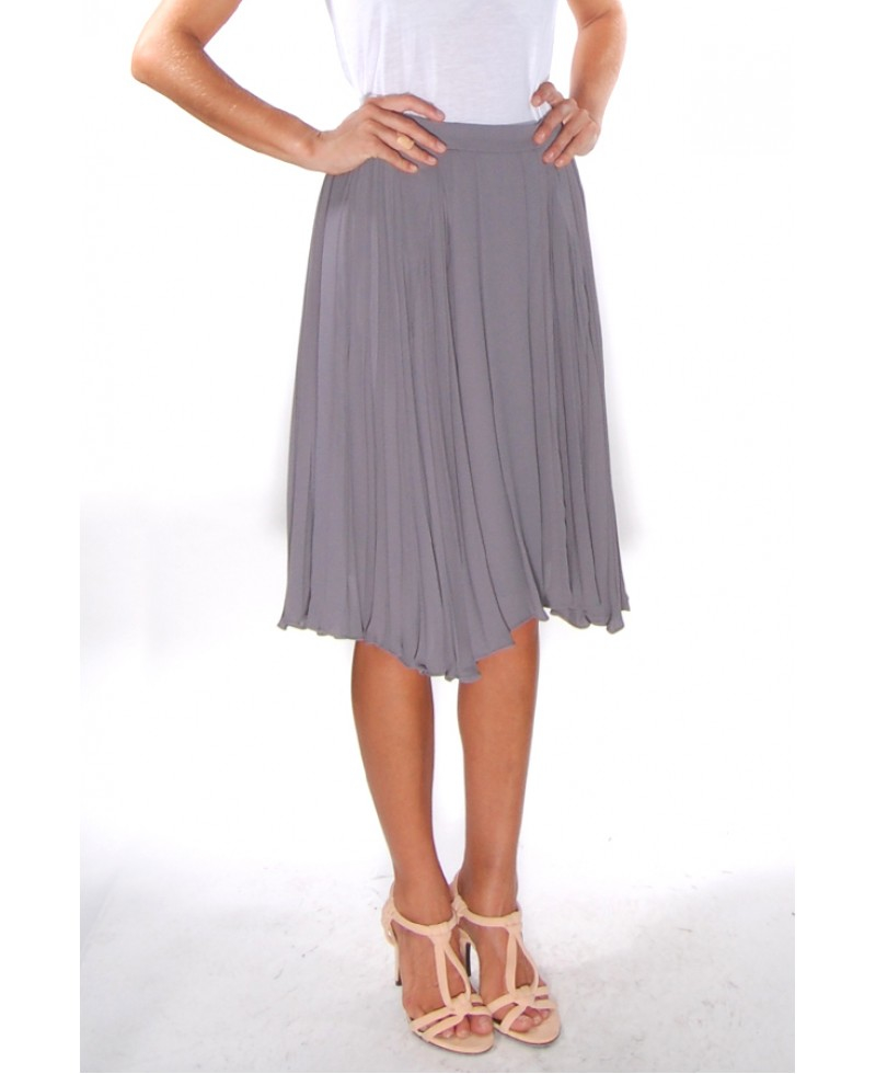 o 2nd vince pleated midi skirt in gray lyst