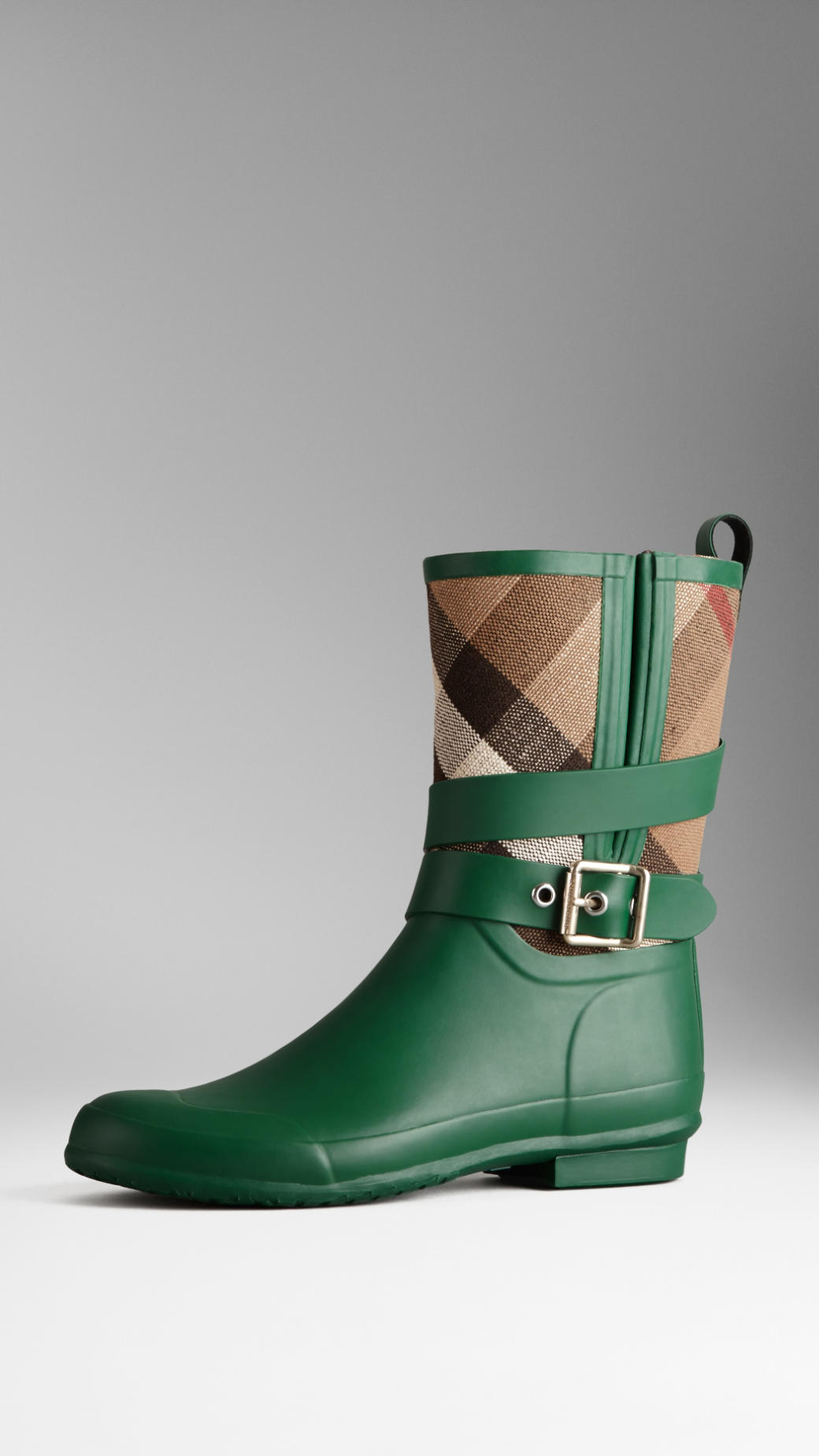 Burberry Check Detail Belted Rain Boots in Green | Lyst