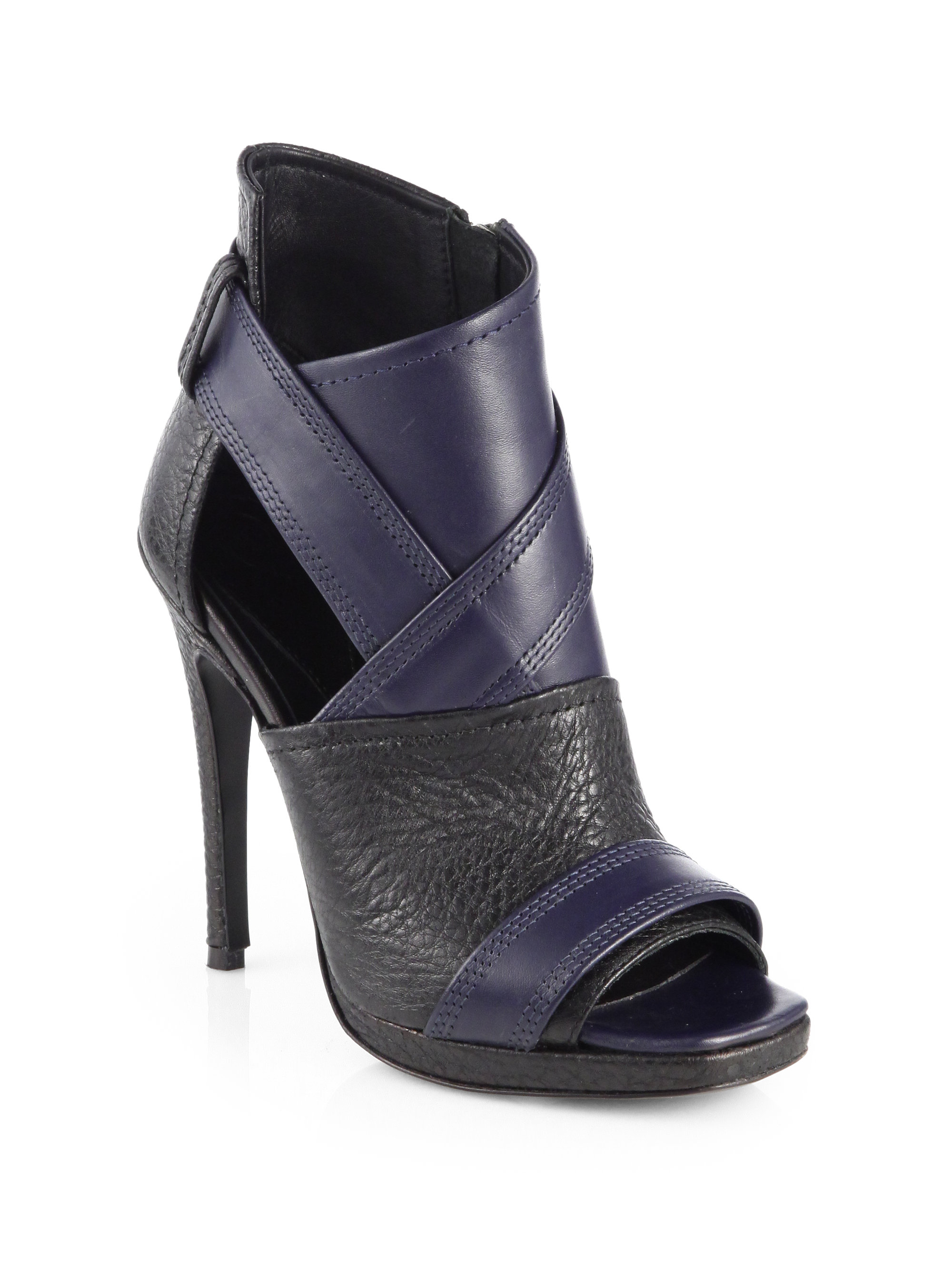 Mcq Lara Bicolor Leather Open-toe Ankle Boots in Black