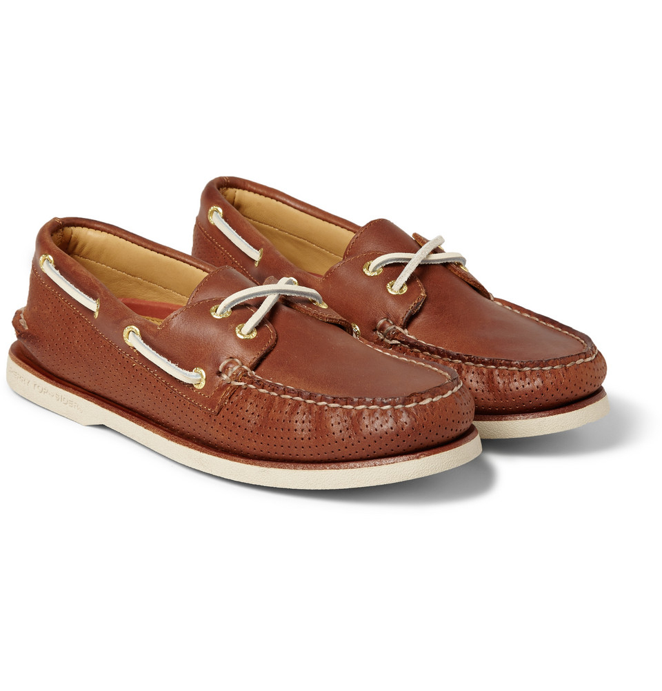 Sperry Top sider Gold Cup Perforated Leather Boat Shoes In