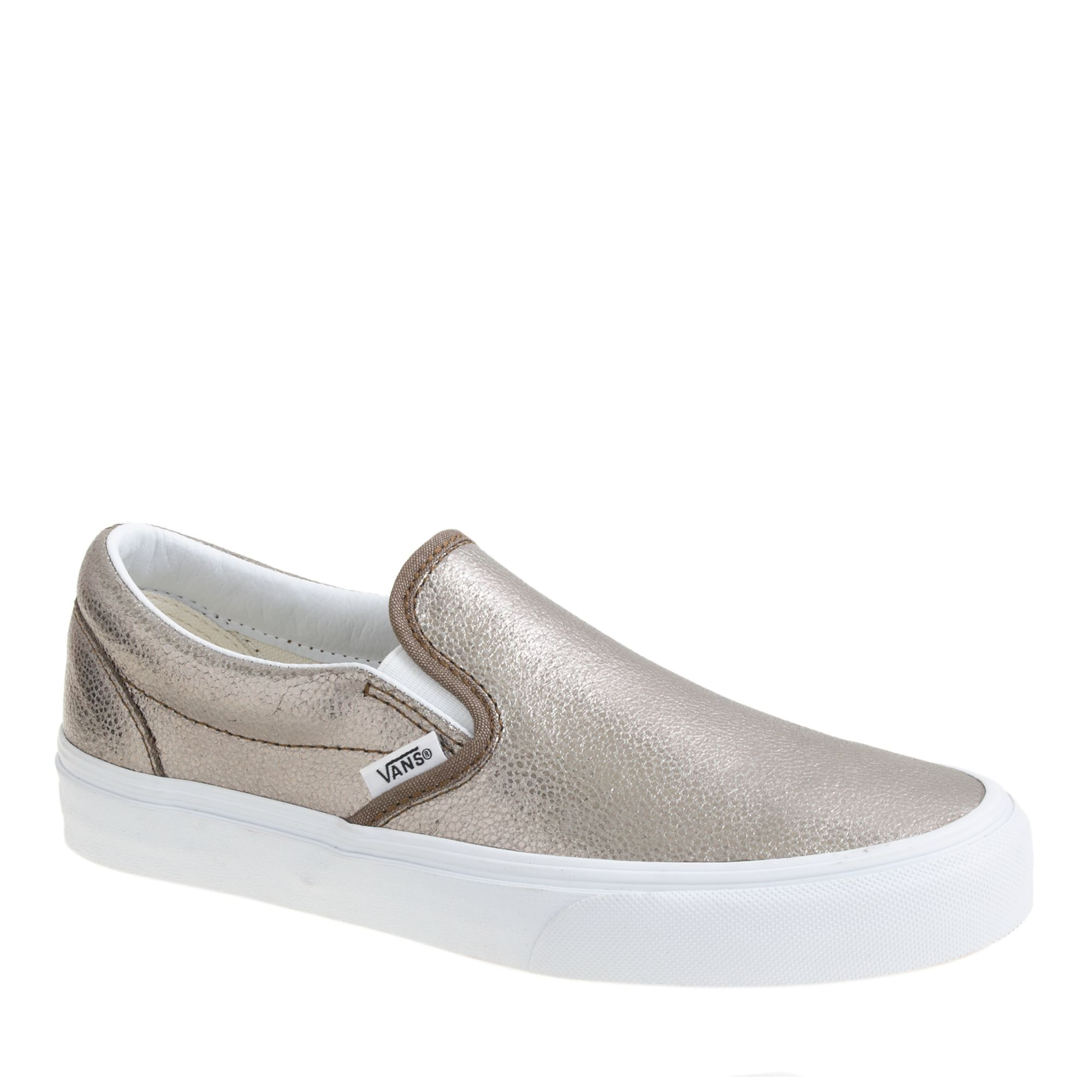 j crew vans leather metallic classic slipon shoes in