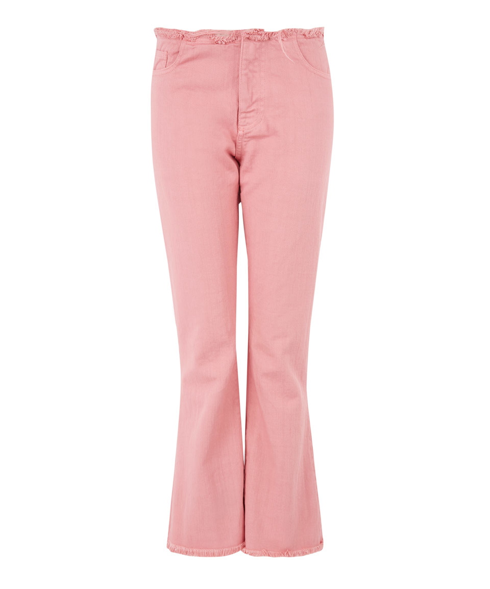 Marques'almeida Pink Overdye Fray Crop Flare Jeans in Pink | Lyst