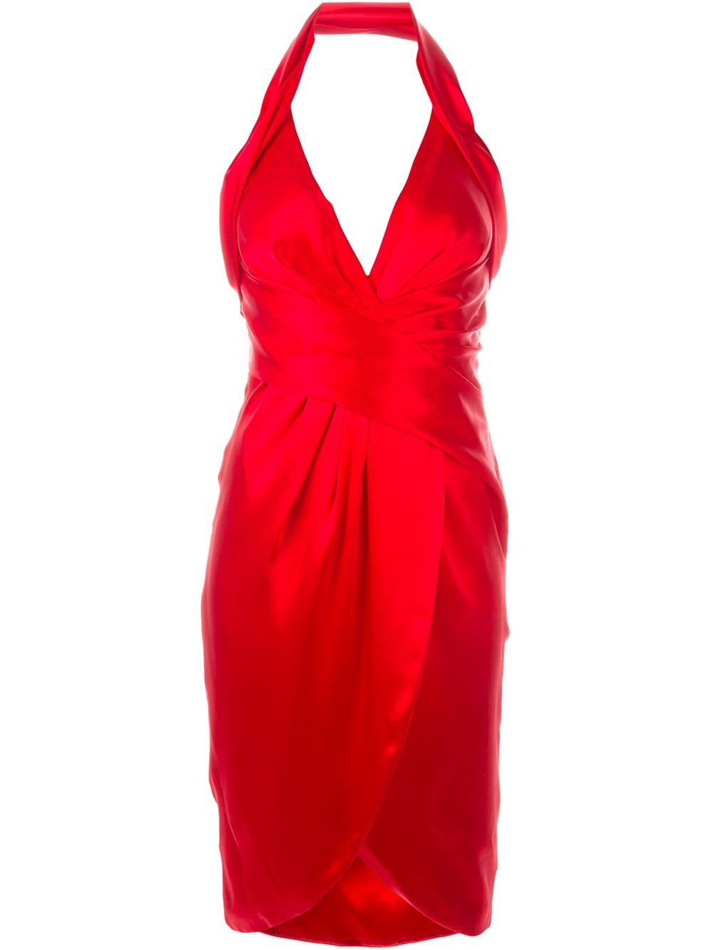 Lyst Moschino Halter Cocktail Dress In Red