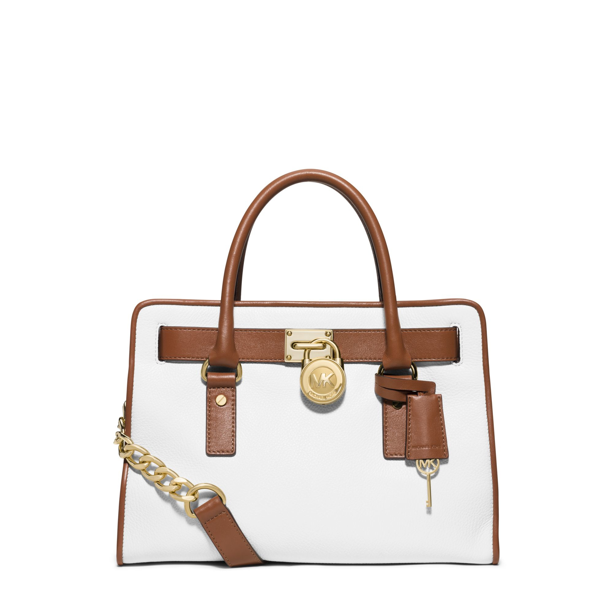 627016b6de20 Lyst - Michael Kors Hamilton Two-tone Leather Satchel in White