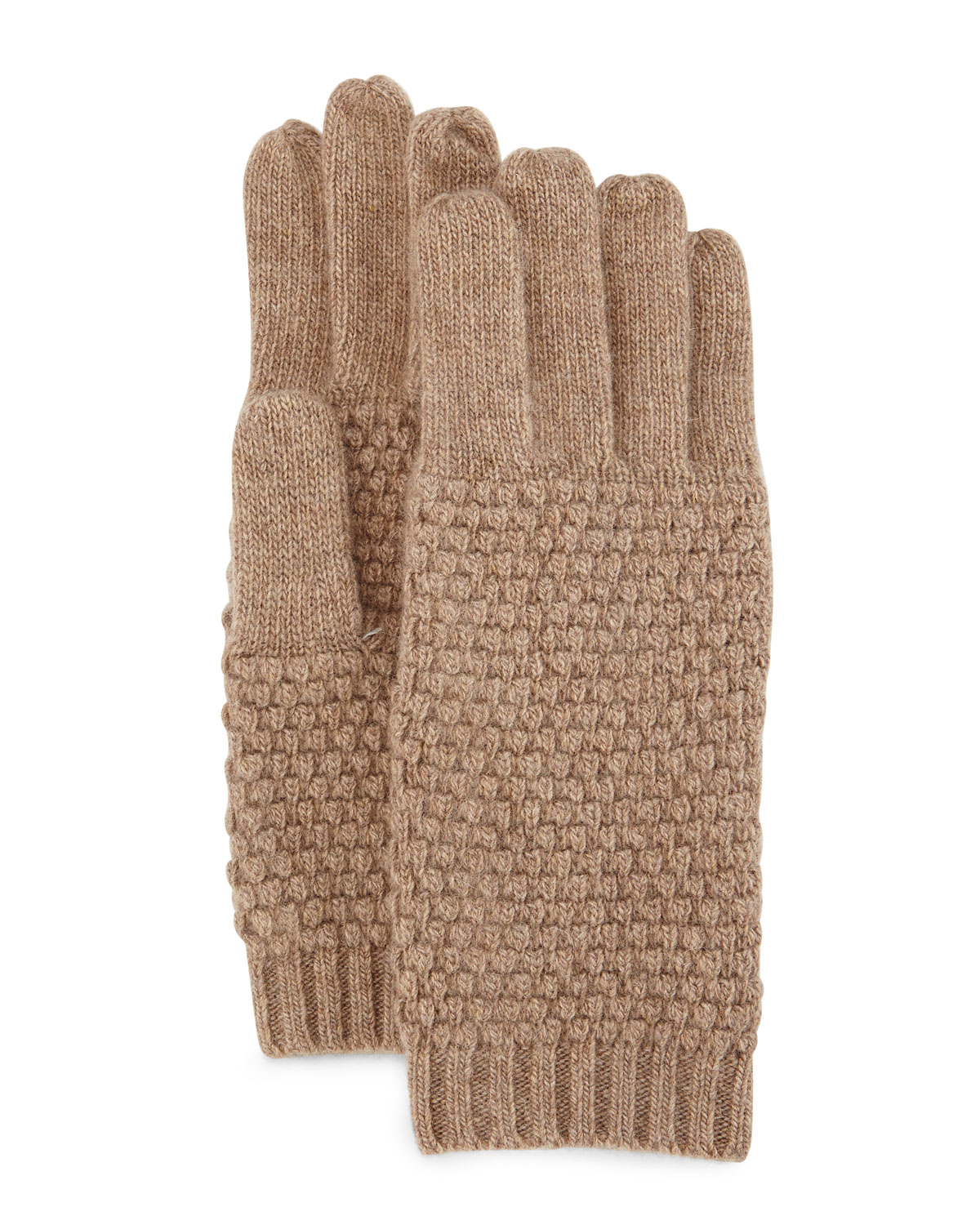 Knitting Pattern Cashmere Gloves : Portolano Cashmere Popcorn-knit Gloves in Brown Lyst