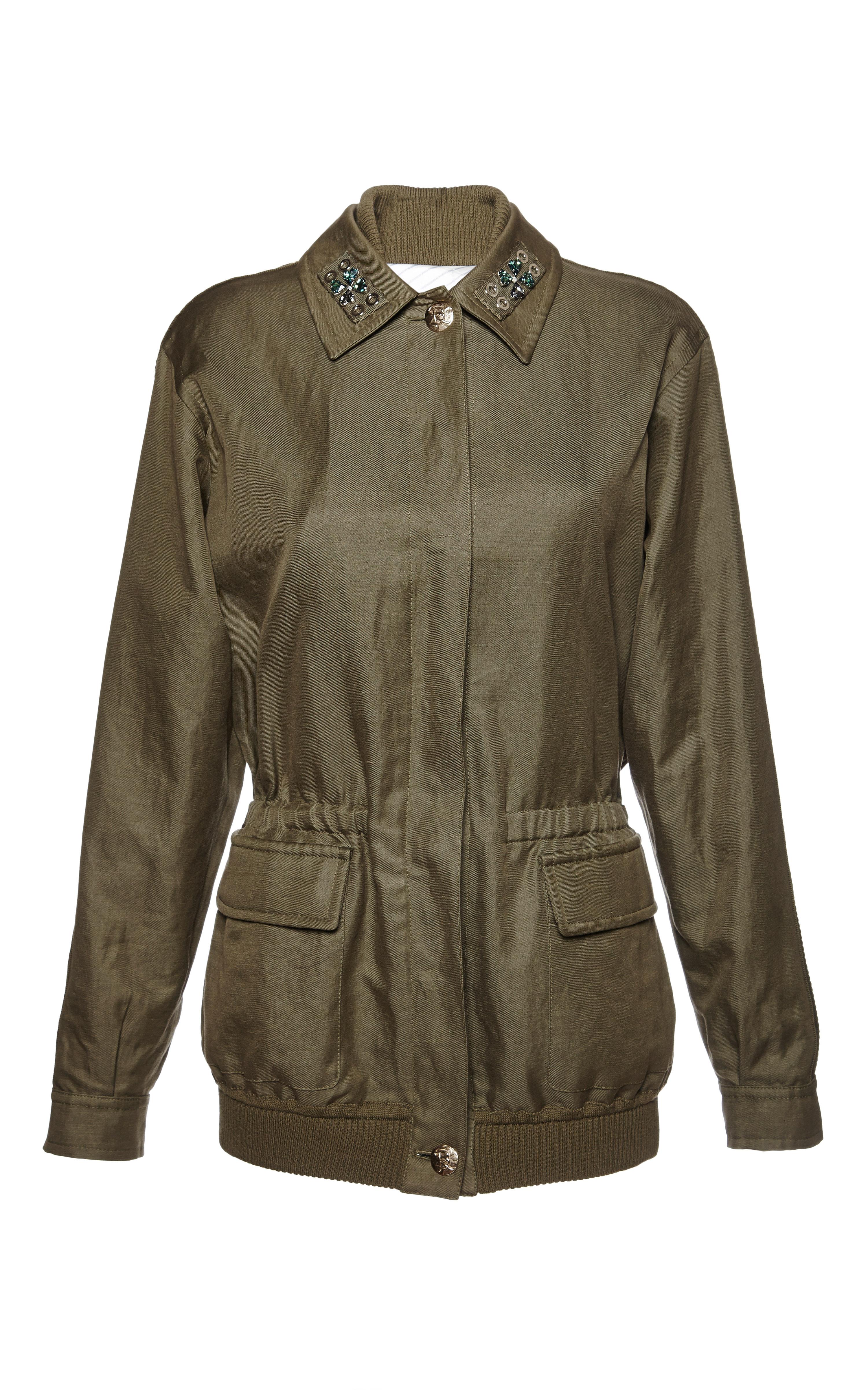 Lyst sonia rykiel khaki cotton and linen twill