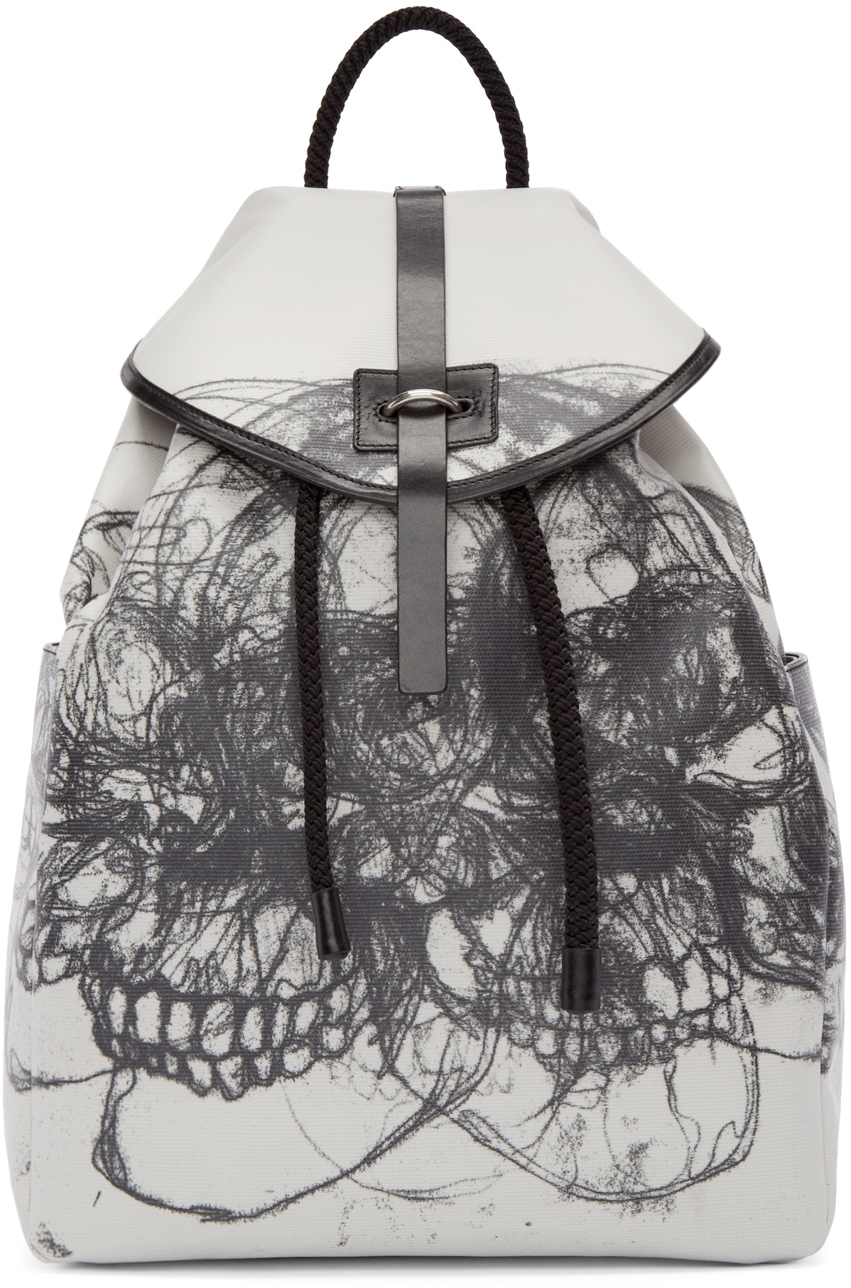 Alexander mcqueen Black And Off-white Best Skulls Backpack ...