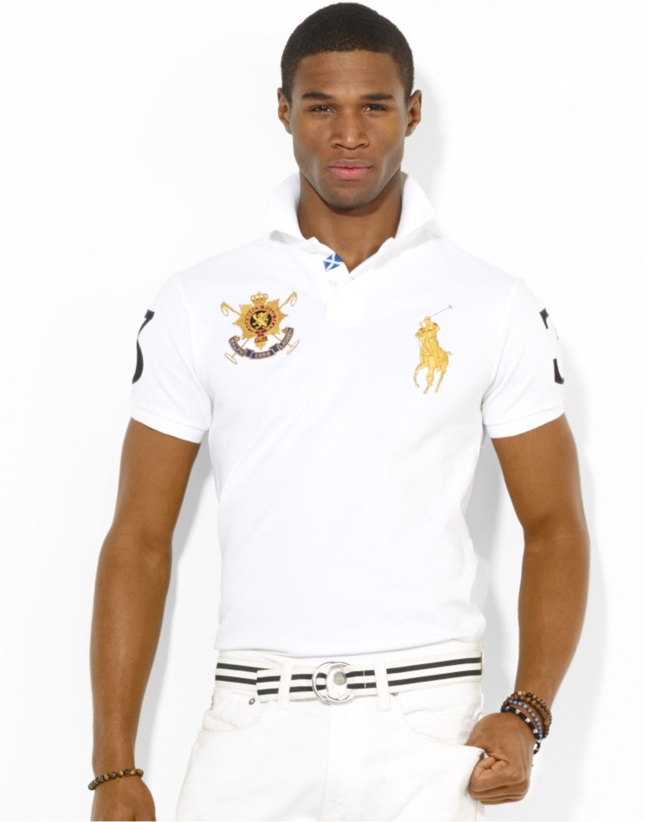 f71a4939 Polo Ralph Lauren Black Watch Custom-Fit Polo in White for Men - Lyst