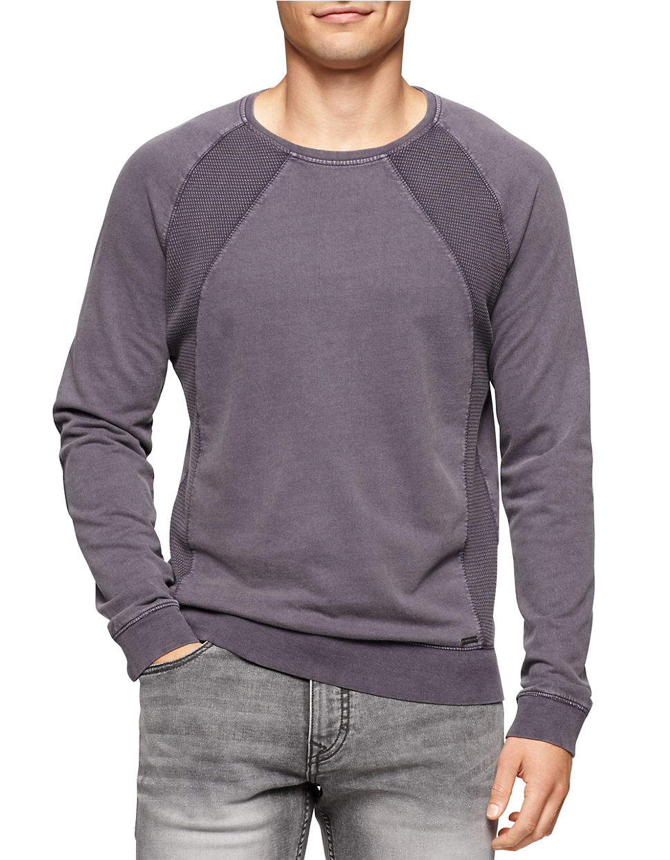 calvin klein jeans acid wash pullover in purple for men lyst. Black Bedroom Furniture Sets. Home Design Ideas