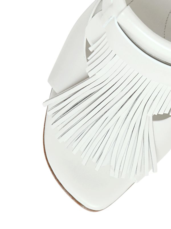Lyst Tod S 115mm Fringed Leather Sandals In White