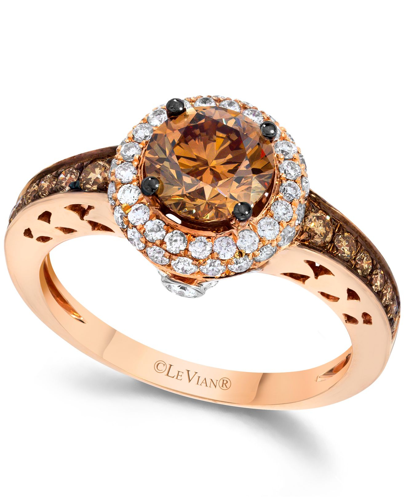 Le vian Chocolate And White Diamond Engagement Ring In 14k Rose ...