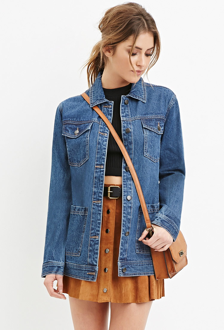 Forever 21 Longline Denim Jacket You Ve Been Added To The
