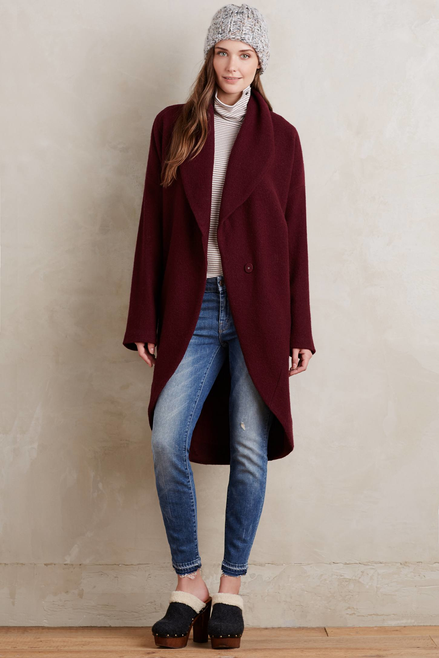 Moth Windsor Boiled Wool Sweater Coat in Red | Lyst