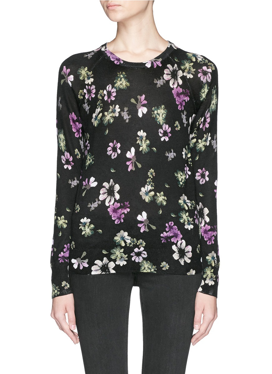 Equipment 'sloane' Floral Print Silk-cashmere Sweater in Black | Lyst