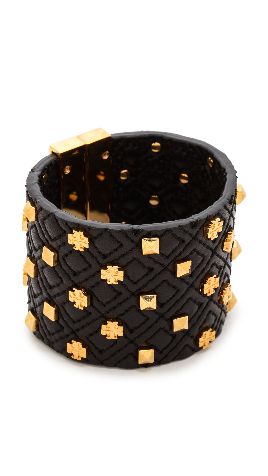 Lyst Tory Burch Logo Quilted Leather Bracelet Black