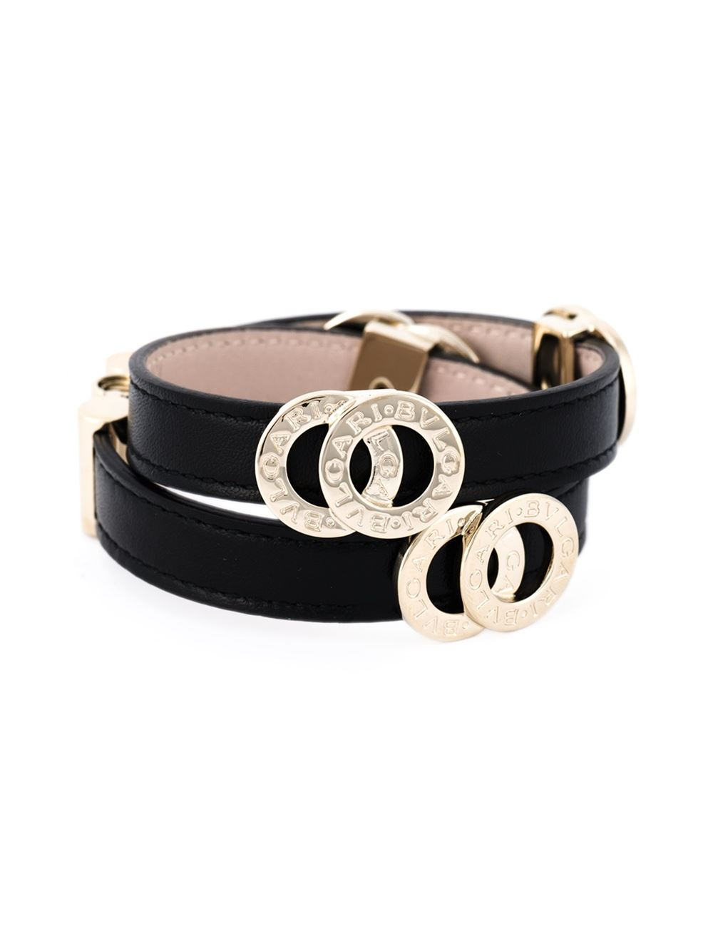 Lyst Bvlgari Double Coiled Bracelet In Black
